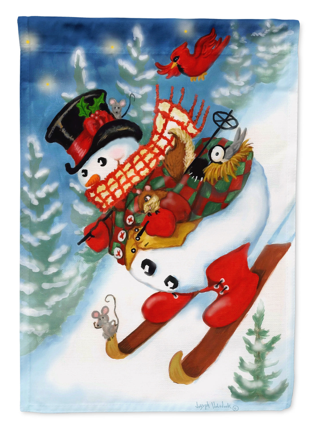 Snowman Ski Party Flag Canvas House Size PJH3029CHF by Caroline's Treasures