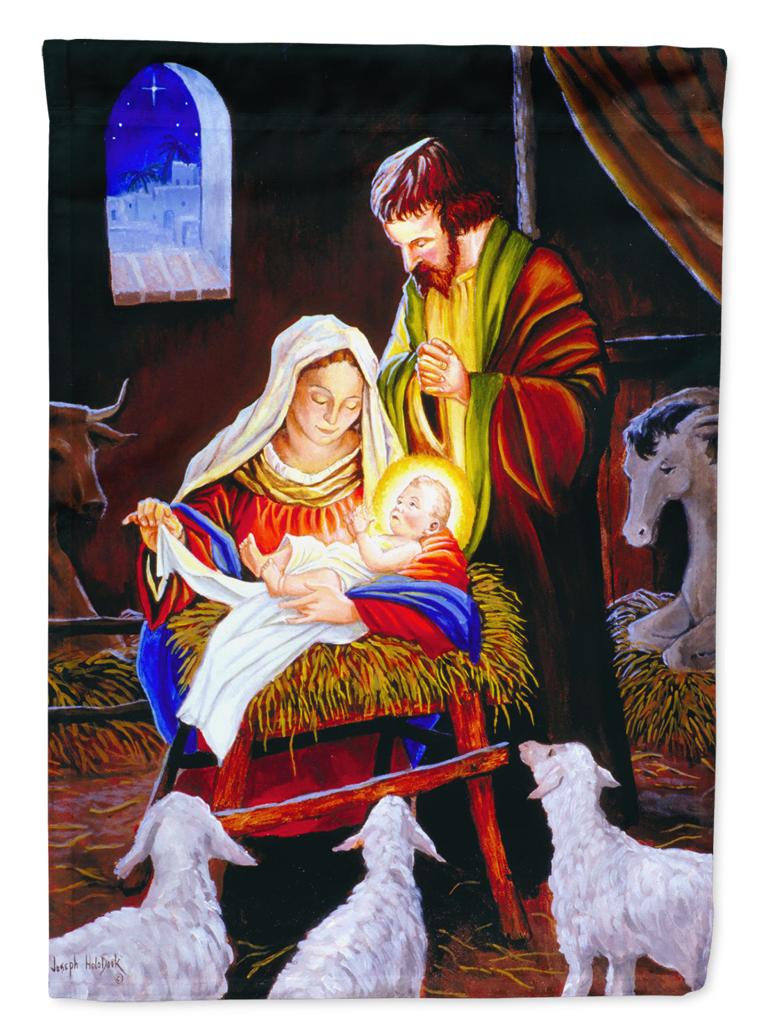 Nativity Silent Night Flag Canvas House Size PJH3030CHF by Caroline's Treasures