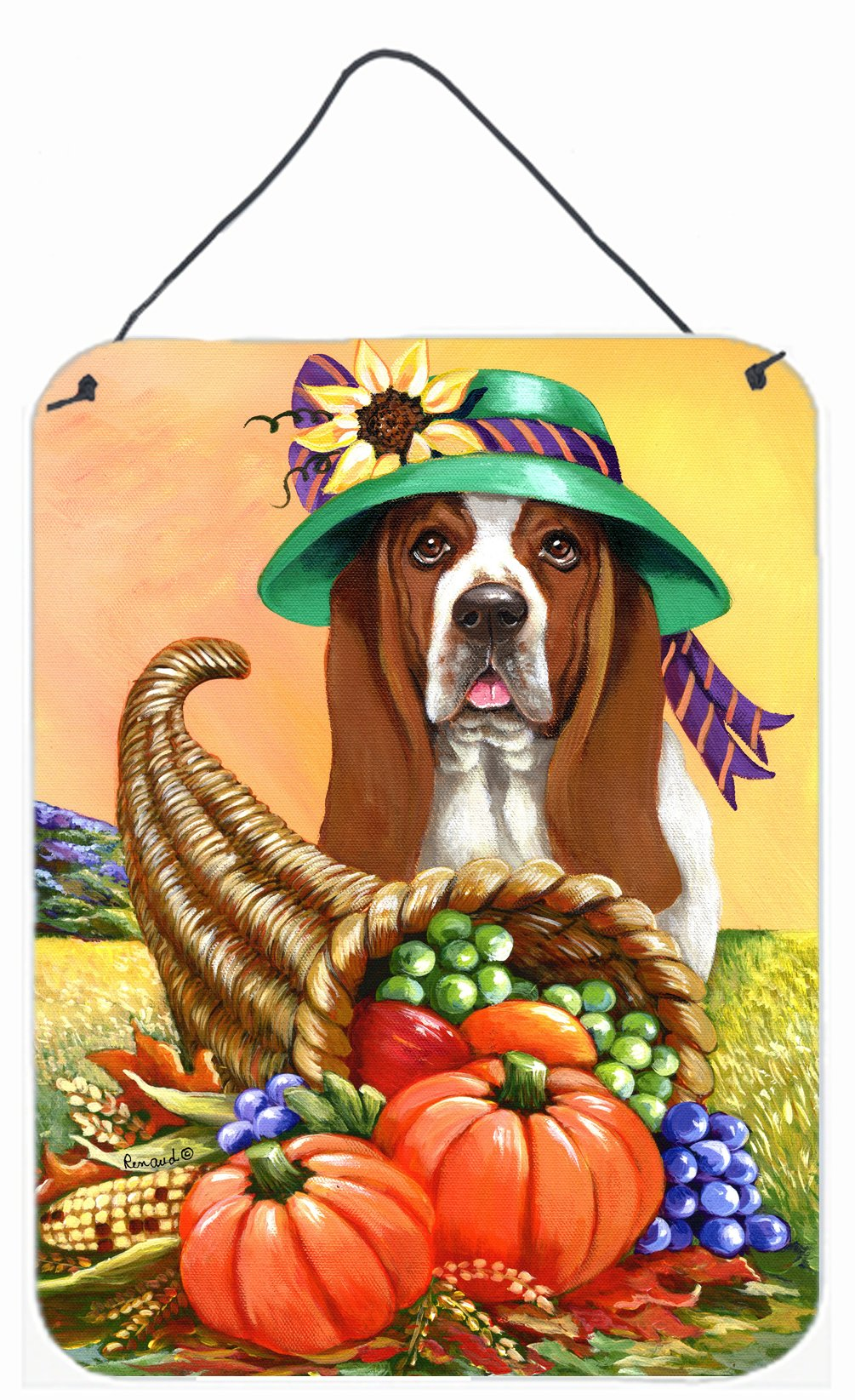 Buy this Basset Hound Autumn Wall or Door Hanging Prints PPP3010DS1216