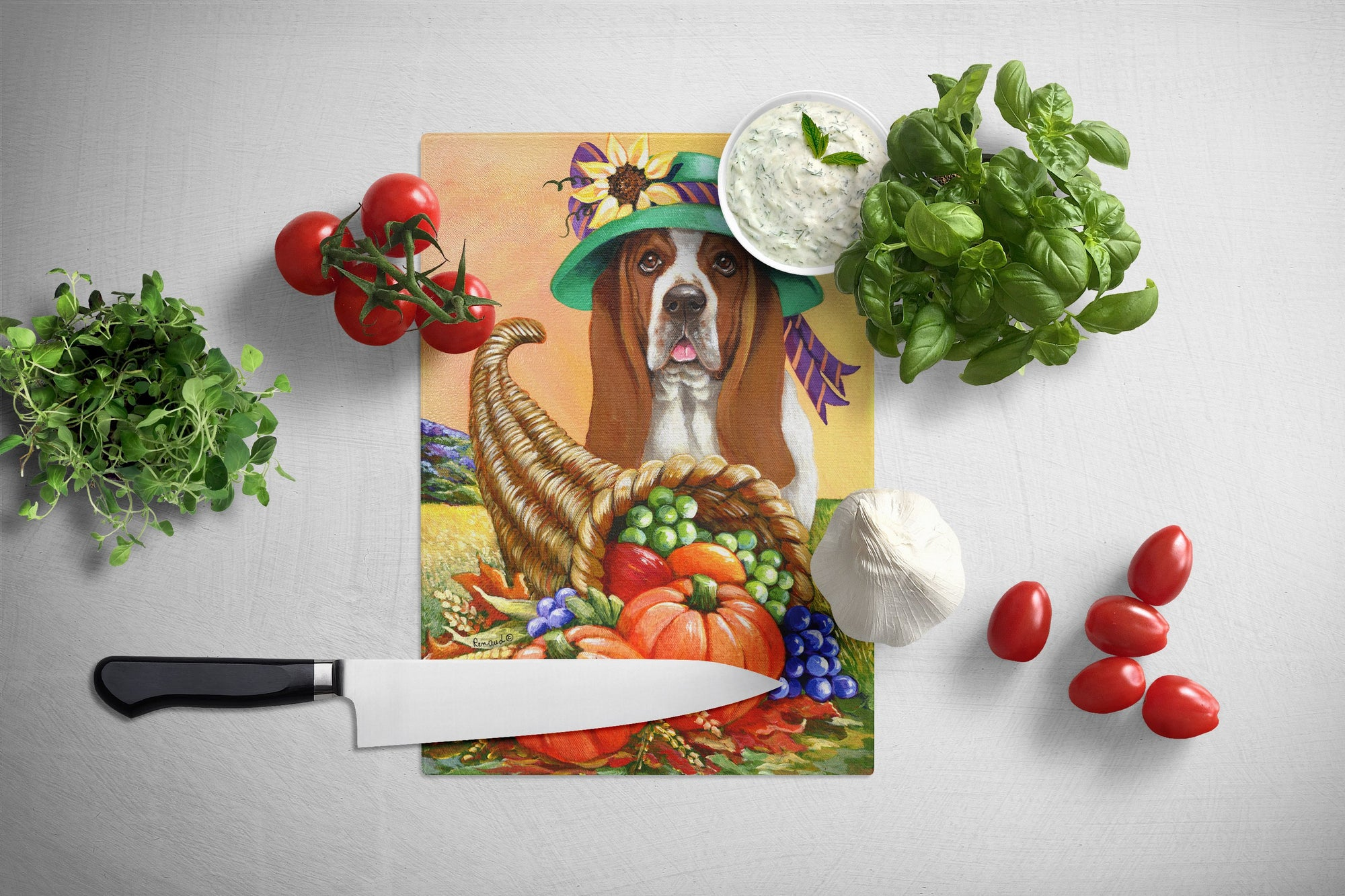 Basset Hound Autumn Glass Cutting Board Large PPP3010LCB by Caroline's Treasures