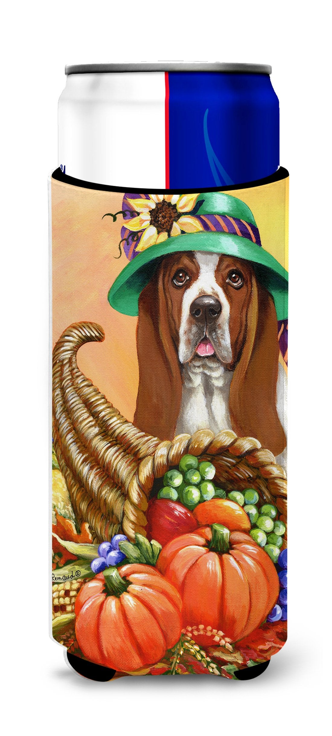 Basset Hound Autumn Ultra Hugger for slim cans PPP3010MUK by Caroline's Treasures