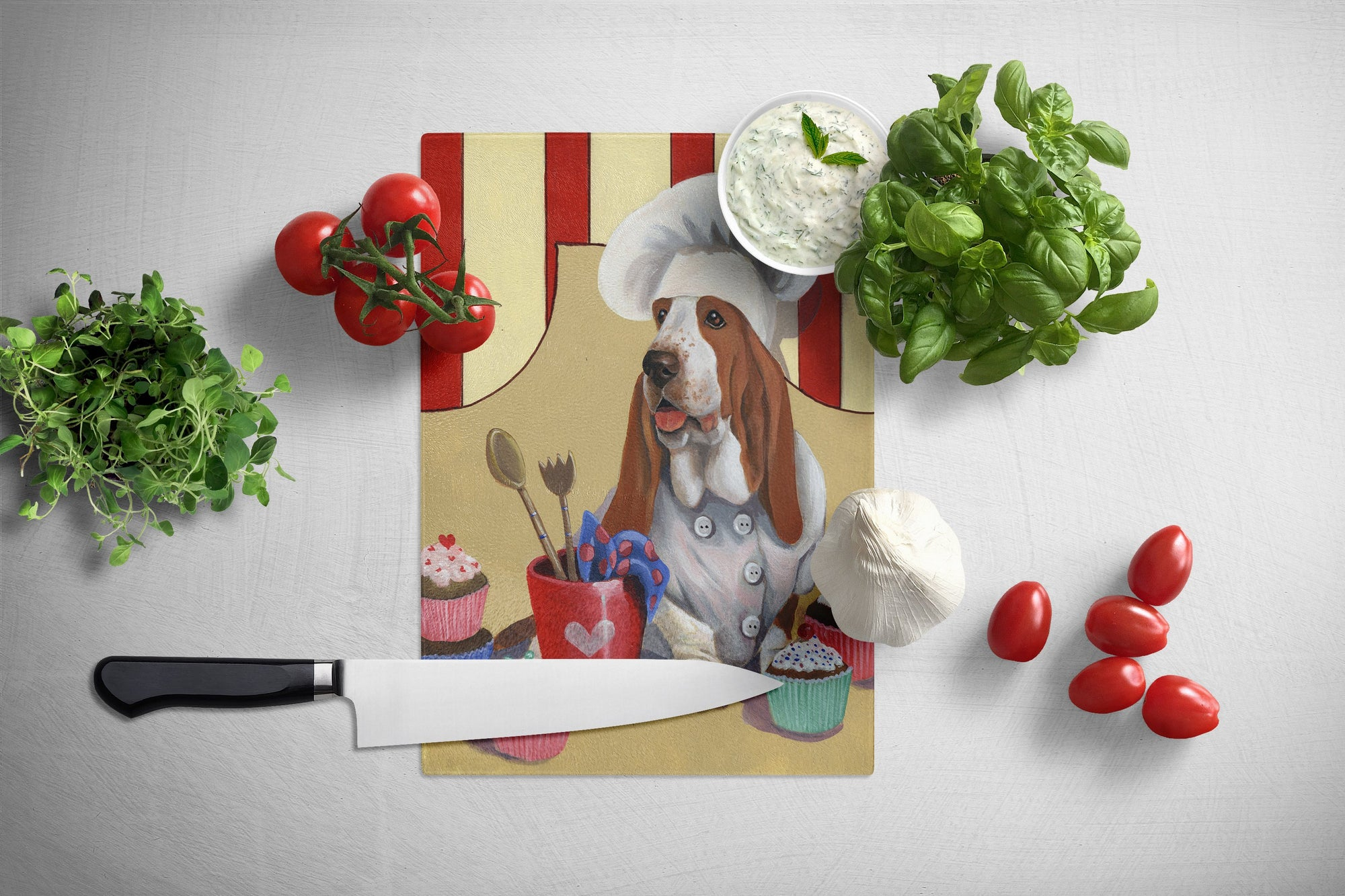 Basset Hound Cupcake Hound Glass Cutting Board Large PPP3011LCB by Caroline's Treasures