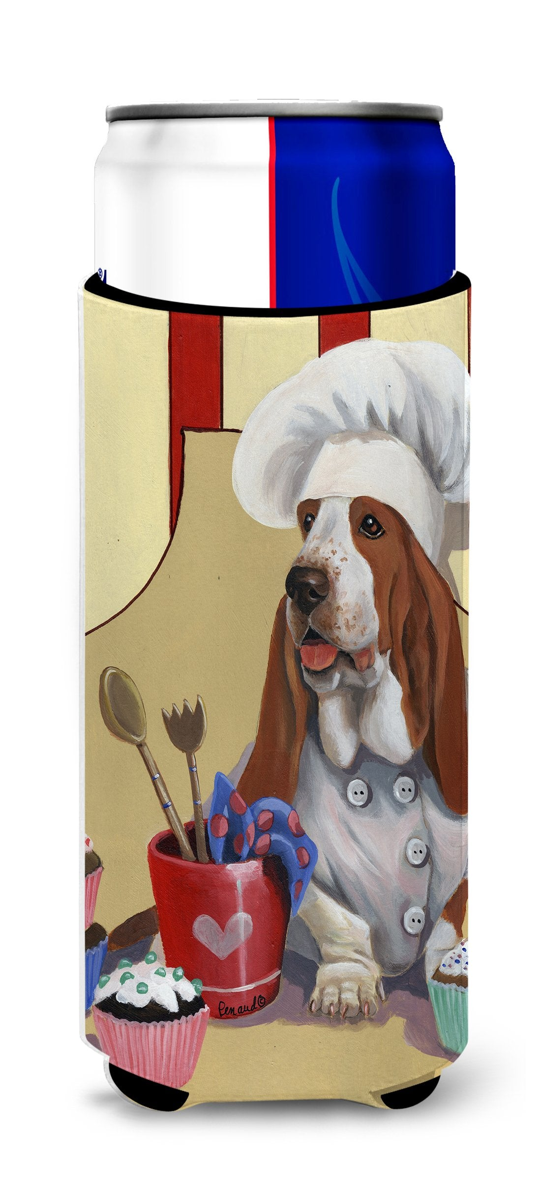 Basset Hound Cupcake Hound Ultra Hugger for slim cans PPP3011MUK by Caroline's Treasures