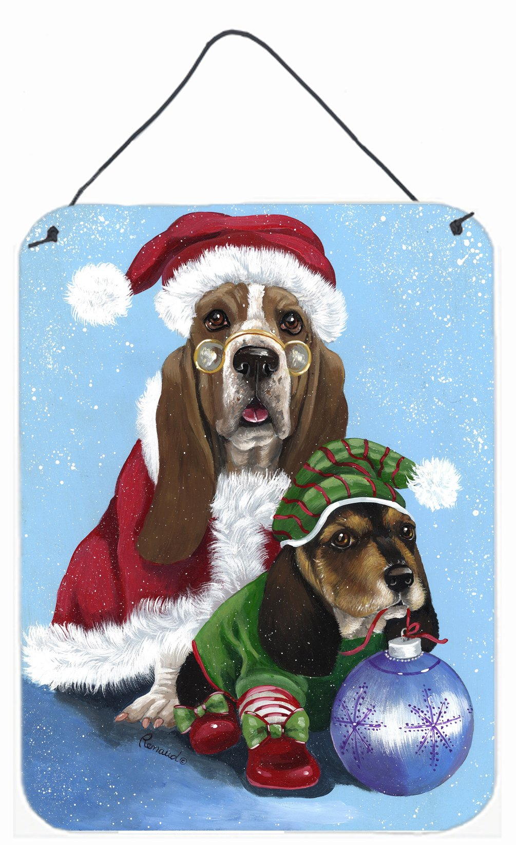 Buy this Basset Hound Santa Christmas Wall or Door Hanging Prints PPP3012DS1216