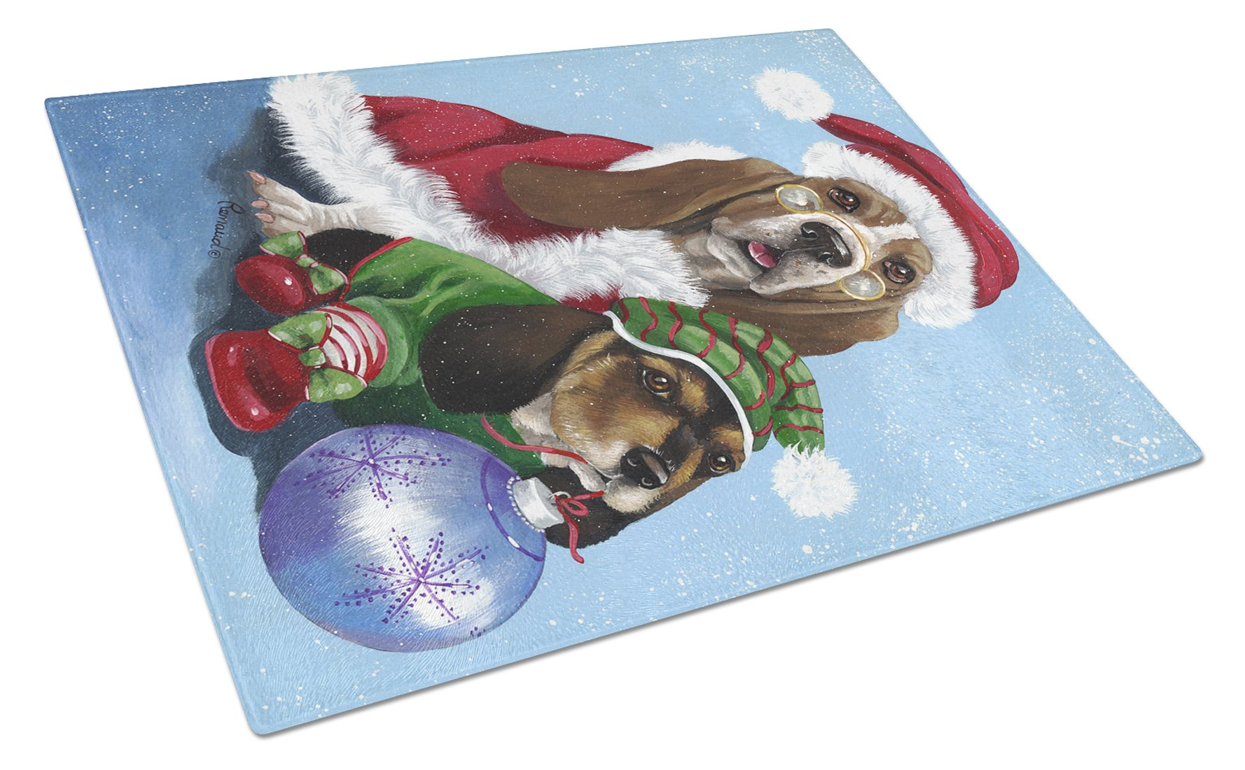 Basset Hound Santa Christmas Glass Cutting Board Large PPP3012LCB by Caroline's Treasures