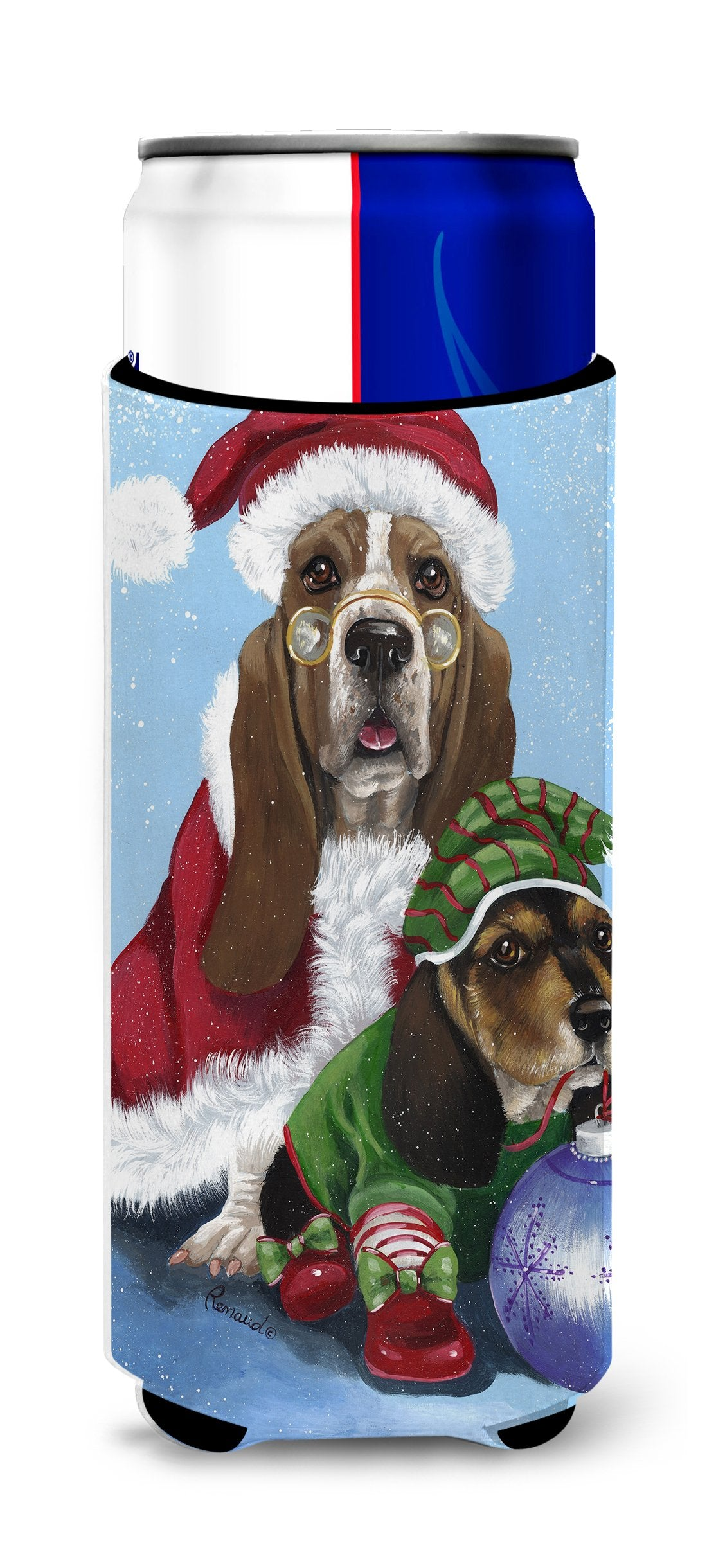 Basset Hound Santa Christmas Ultra Hugger for slim cans PPP3012MUK by Caroline's Treasures