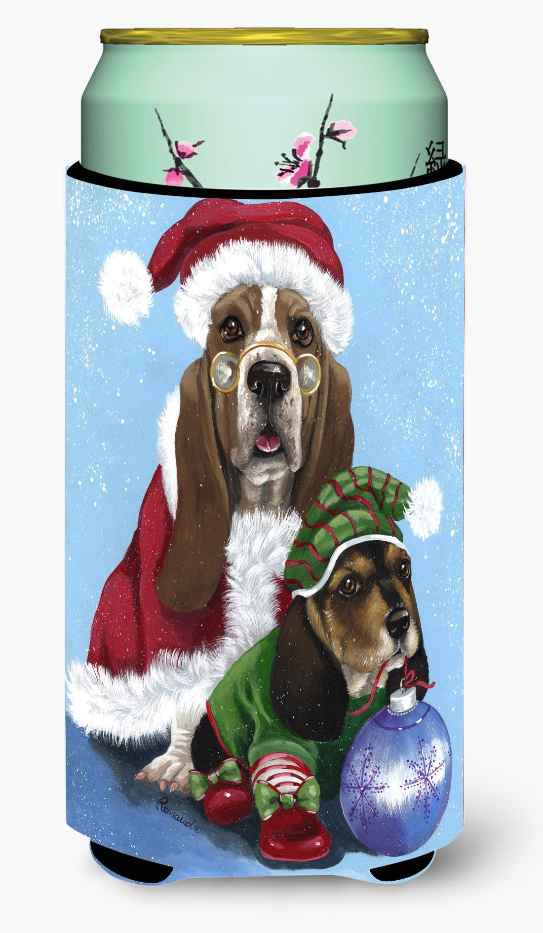 Basset Hound Santa Christmas Tall Boy Hugger PPP3012TBC by Caroline's Treasures