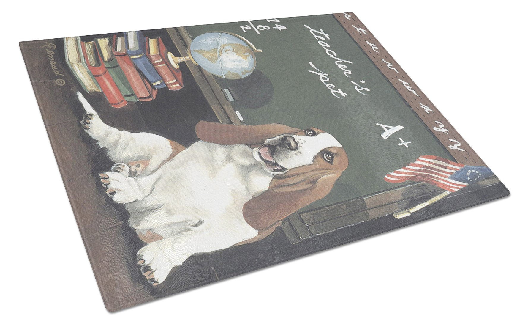 Basset Hound Teacher's Pet Glass Cutting Board Large PPP3013LCB by Caroline's Treasures