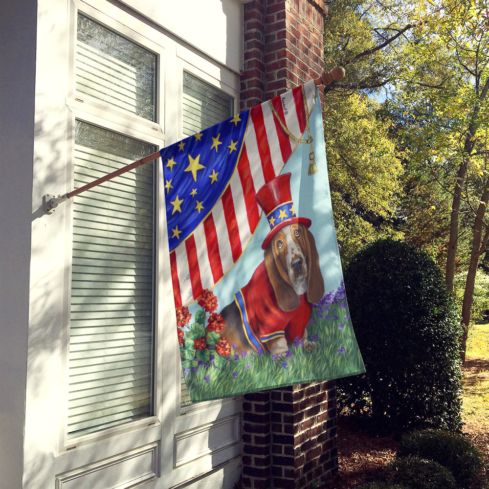 Basset Hound USA Flag Canvas House Size PPP3014CHF by Caroline's Treasures