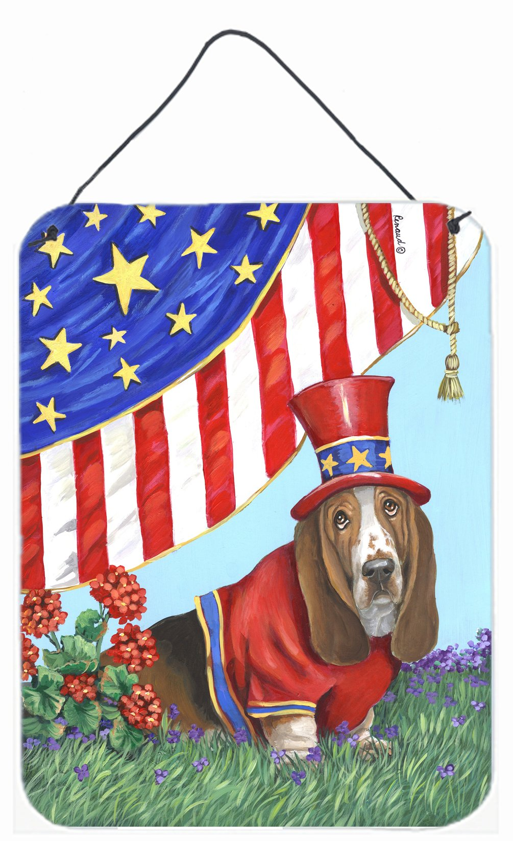 Buy this Basset Hound USA Wall or Door Hanging Prints PPP3014DS1216