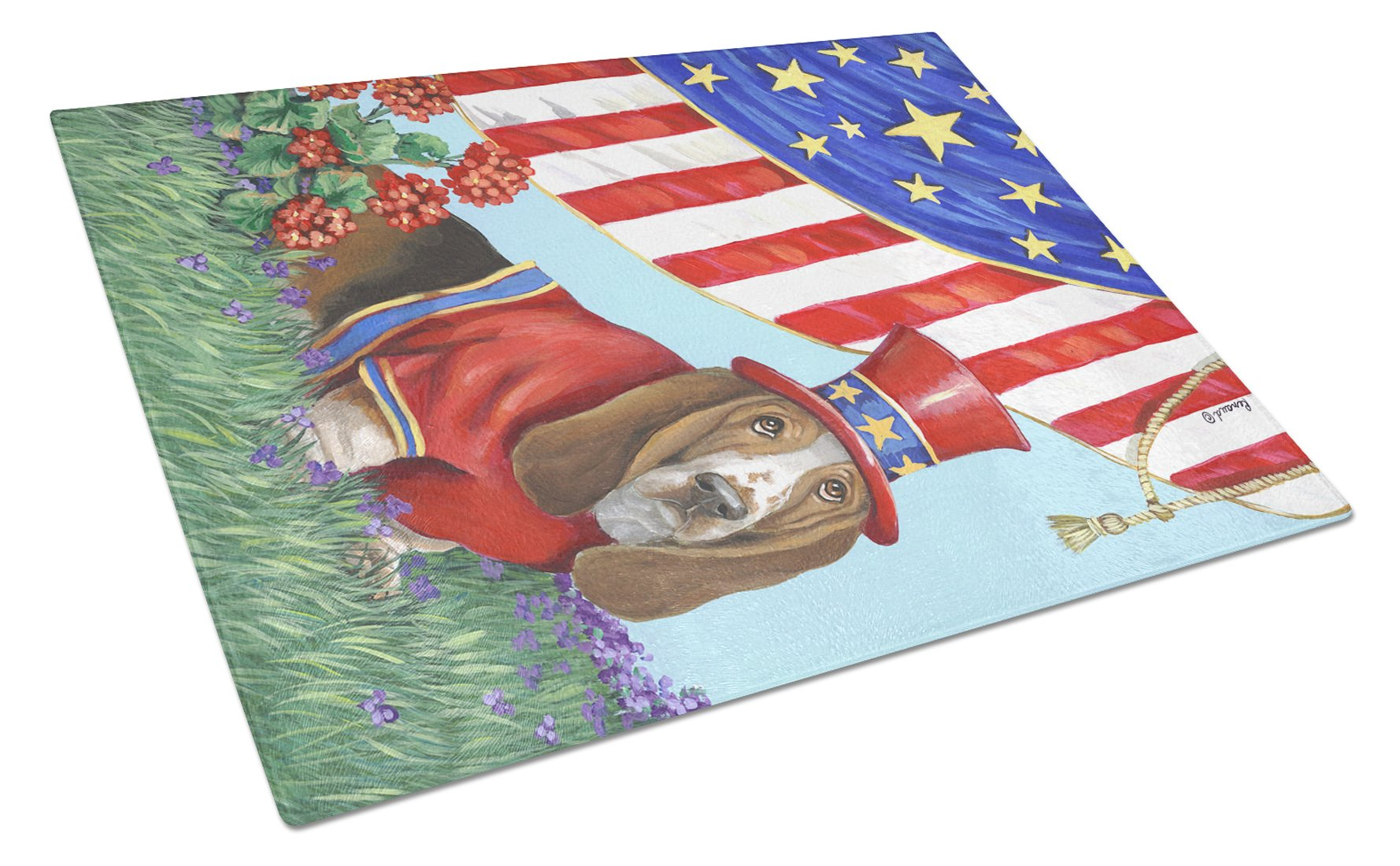 Basset Hound USA Glass Cutting Board Large PPP3014LCB by Caroline's Treasures