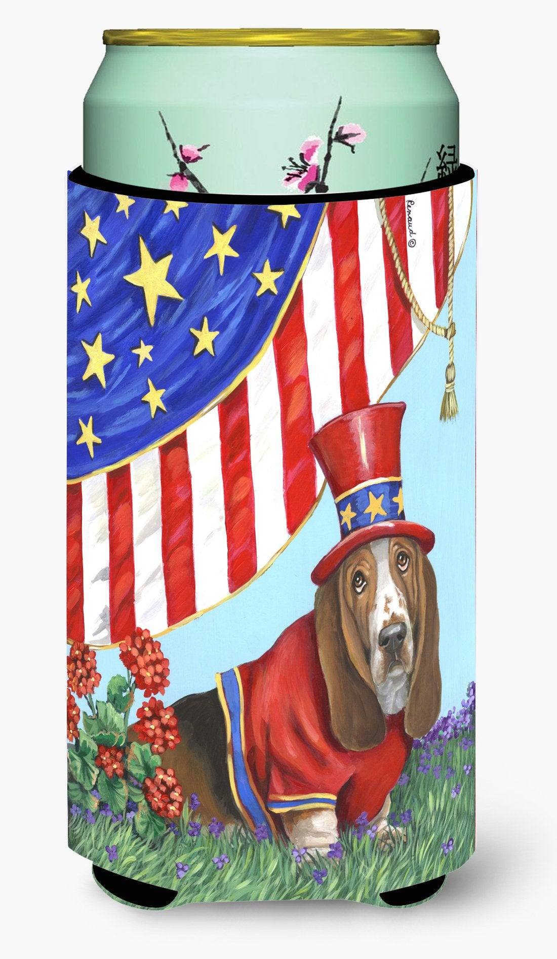 Basset Hound USA Tall Boy Hugger PPP3014TBC by Caroline's Treasures