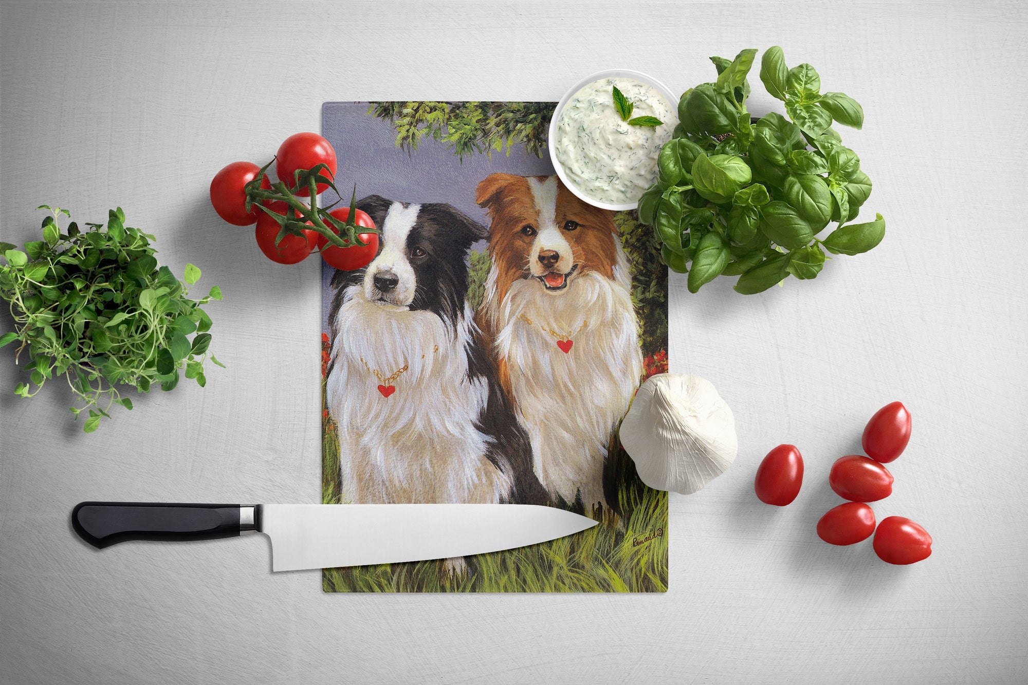 Border Collie Patrol Glass Cutting Board Large PPP3029LCB by Caroline's Treasures