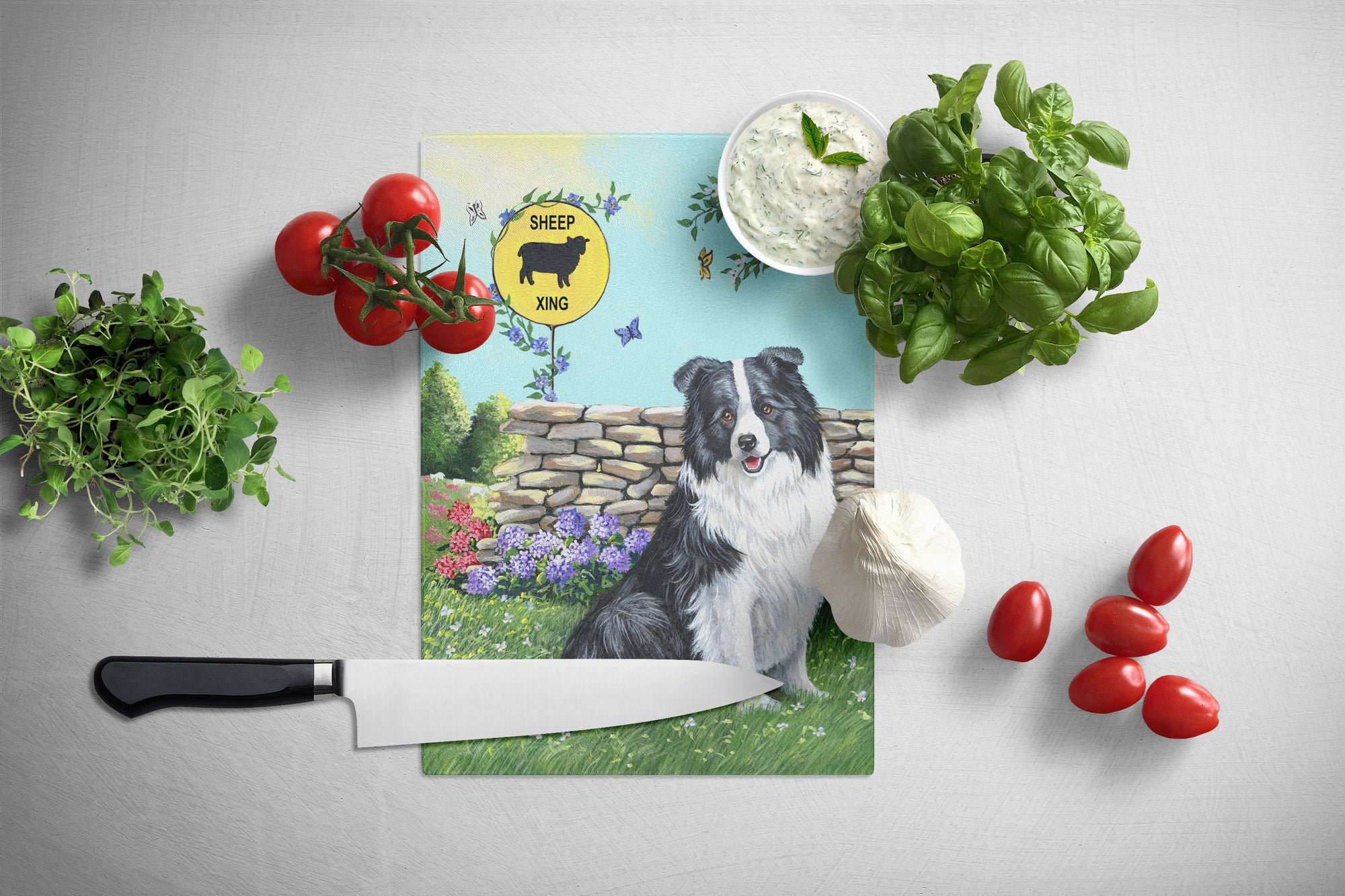 Border Collie Crossing Glass Cutting Board Large PPP3030LCB by Caroline's Treasures
