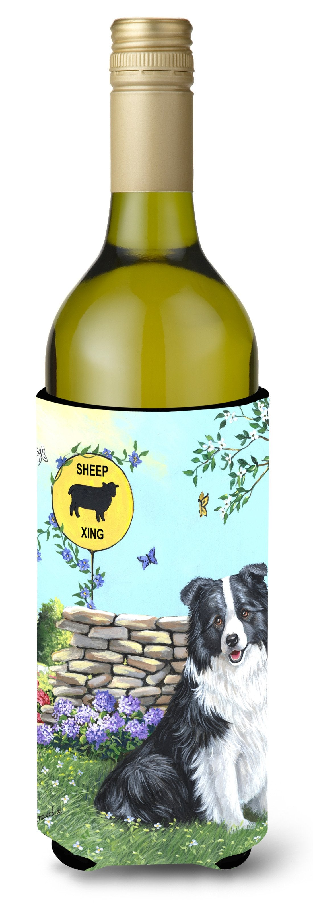 Border Collie Crossing Wine Bottle Hugger PPP3030LITERK by Caroline's Treasures