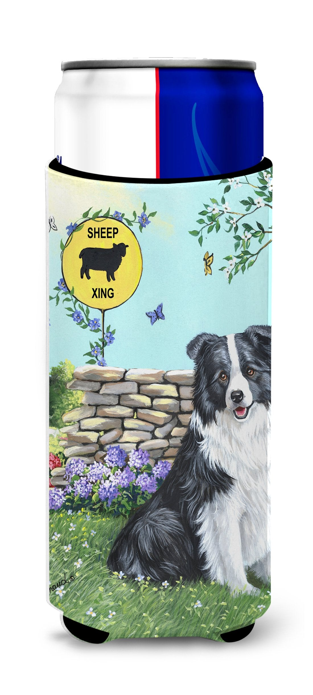 Border Collie Crossing Ultra Hugger for slim cans PPP3030MUK by Caroline's Treasures