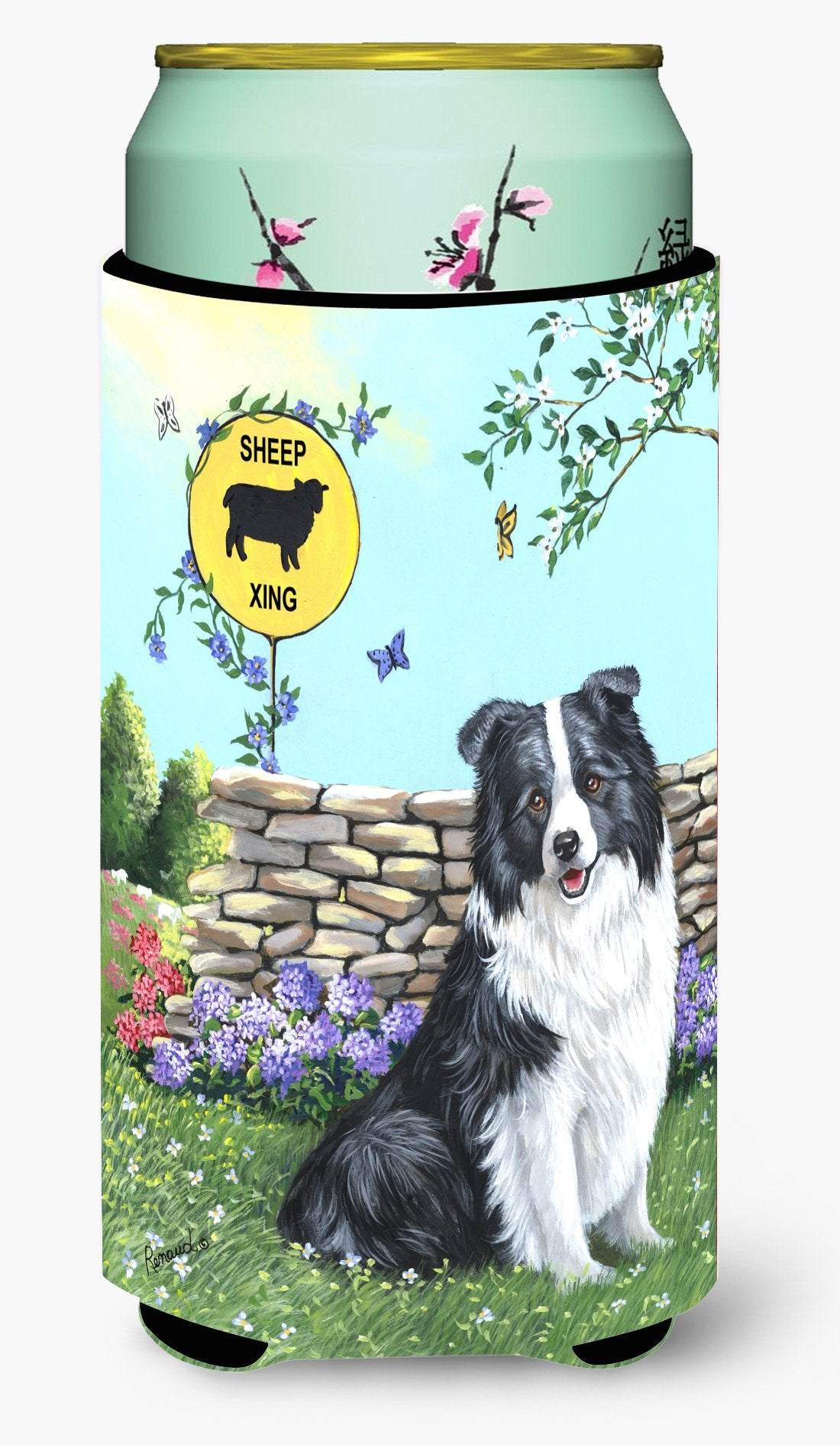 Border Collie Crossing Tall Boy Hugger PPP3030TBC by Caroline's Treasures