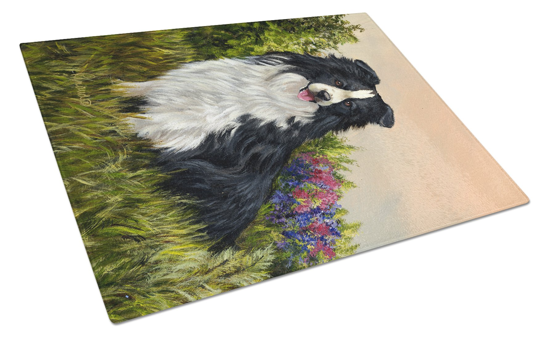 Border Collie Simplicity Glass Cutting Board Large PPP3031LCB by Caroline's Treasures