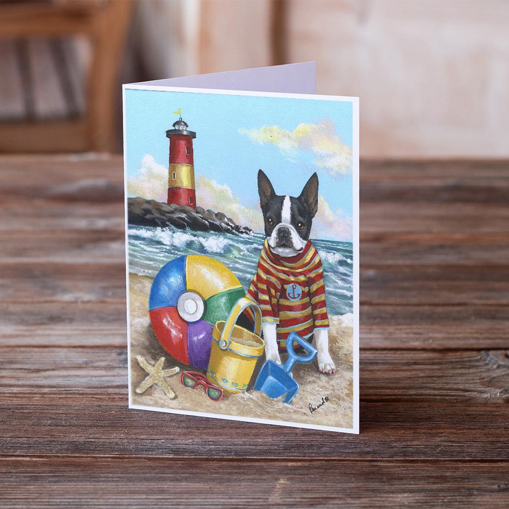 Buy this Boston Terrier Beach Baby Greeting Cards and Envelopes Pack of 8