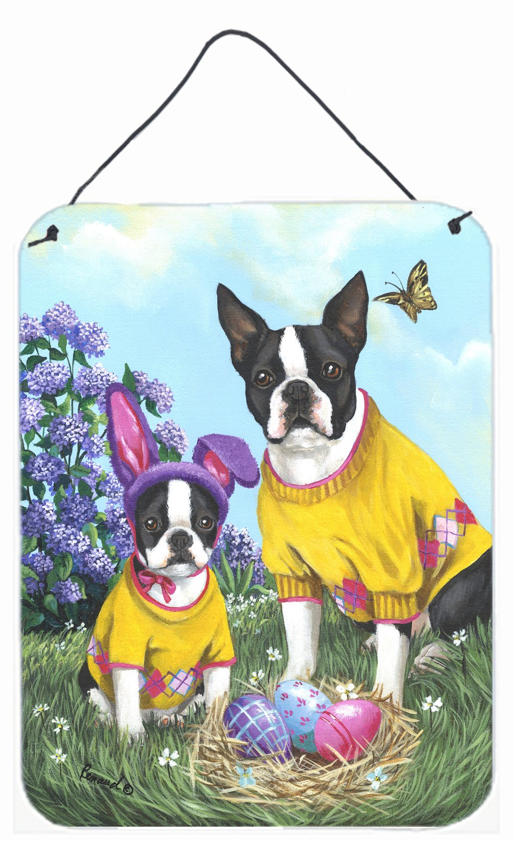 Buy this Boston Terrier Easter Bunny Wall or Door Hanging Prints PPP3037DS1216