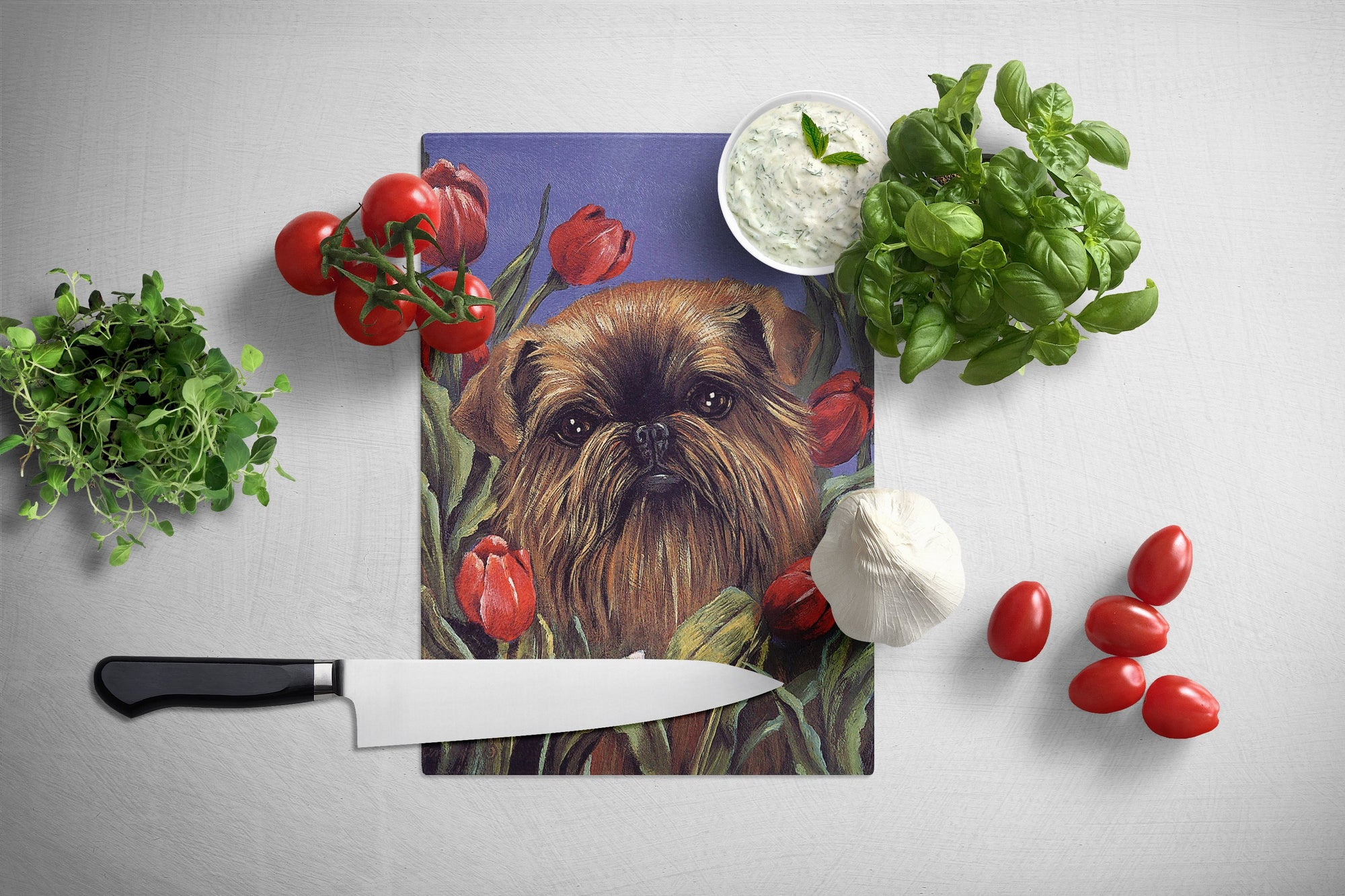 Brussels Griffon Peek a Boo Glass Cutting Board Large PPP3041LCB by Caroline's Treasures