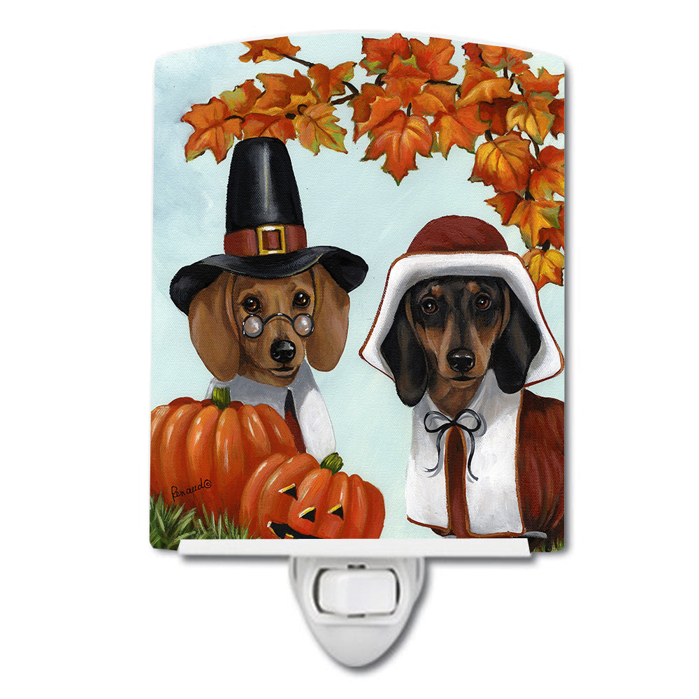 Dachshund Thanksgiving Pilgrims Ceramic Night Light PPP3087CNL by Caroline's Treasures
