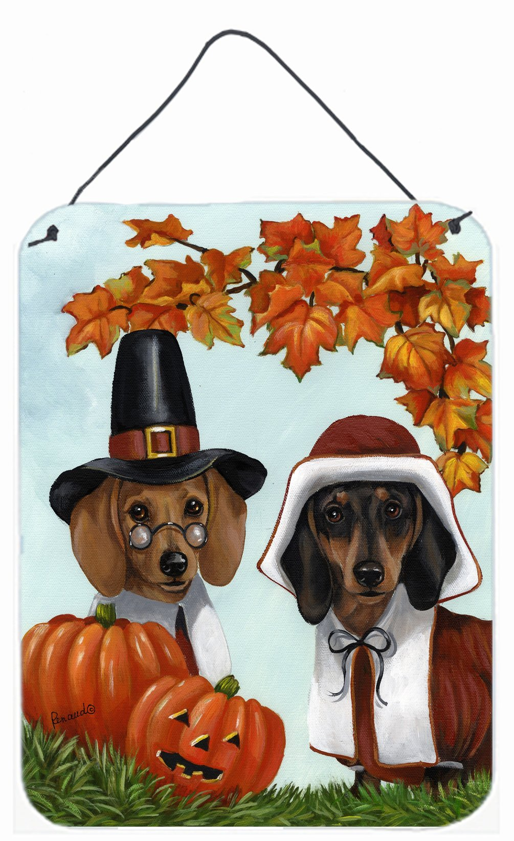 Buy this Dachshund Thanksgiving Pilgrims Wall or Door Hanging Prints PPP3087DS1216
