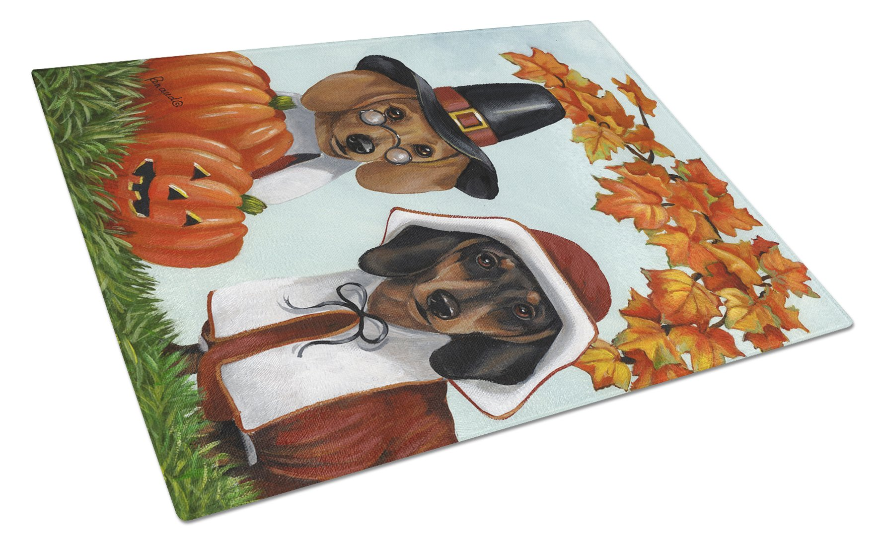 Dachshund Thanksgiving Pilgrims Glass Cutting Board Large PPP3087LCB by Caroline's Treasures