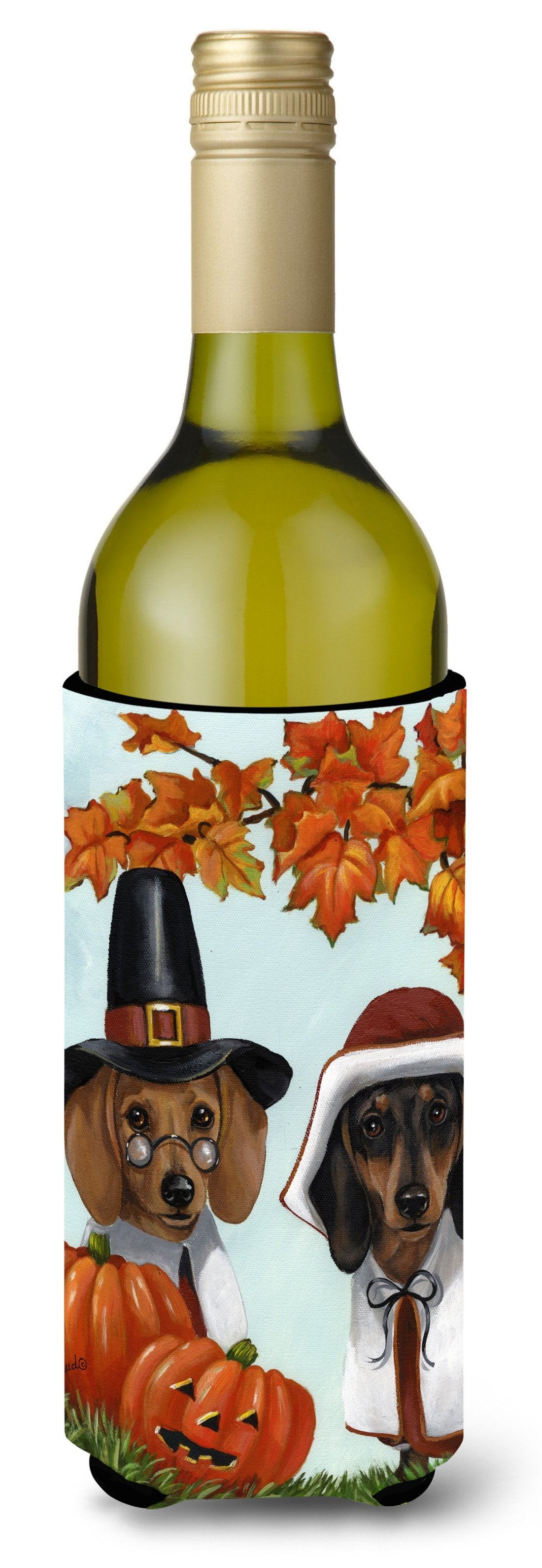 Dachshund Thanksgiving Pilgrims Wine Bottle Hugger PPP3087LITERK by Caroline's Treasures