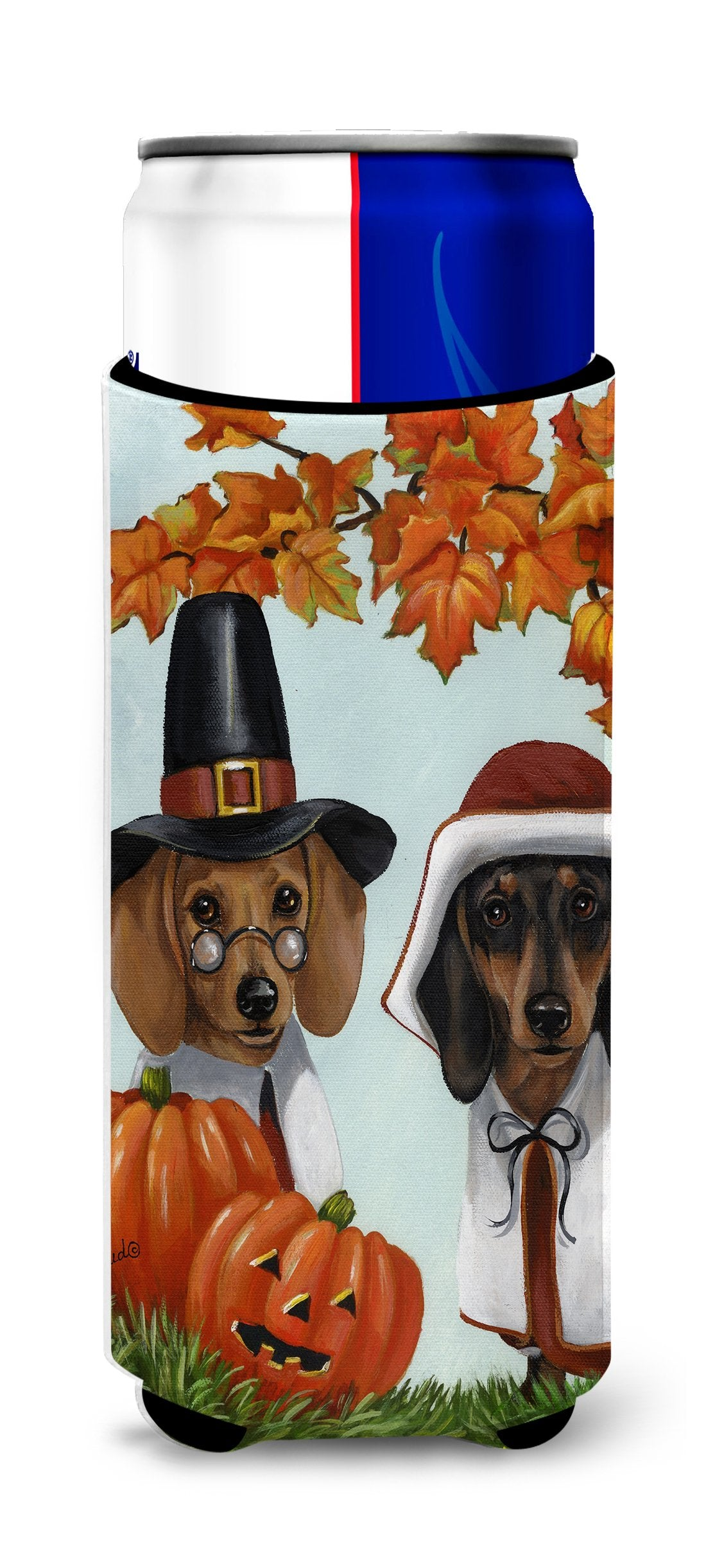 Dachshund Thanksgiving Pilgrims Ultra Hugger for slim cans PPP3087MUK by Caroline's Treasures
