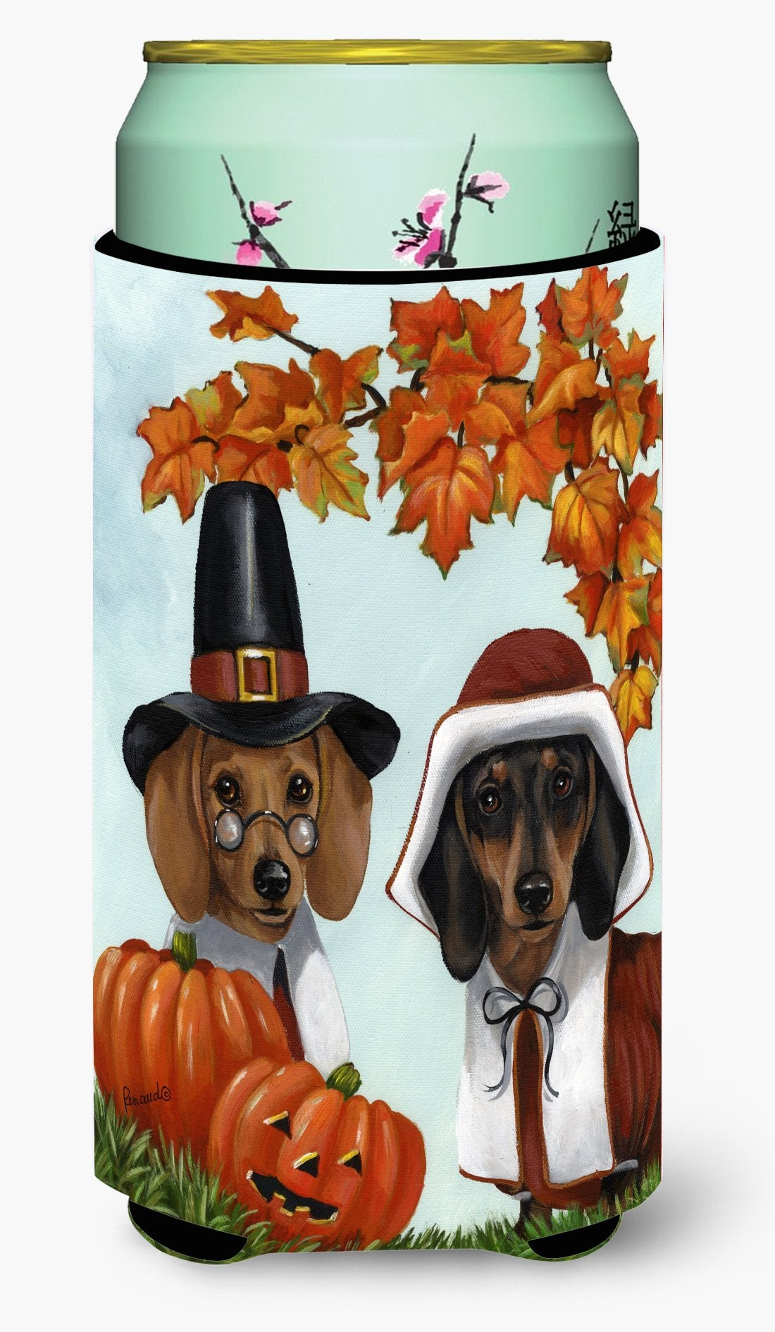 Dachshund Thanksgiving Pilgrims Tall Boy Hugger PPP3087TBC by Caroline's Treasures