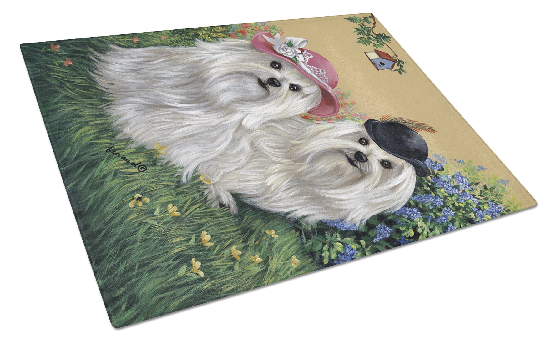 Maltese Mr & Mrs Glass Cutting Board Large PPP3112LCB by Caroline's Treasures