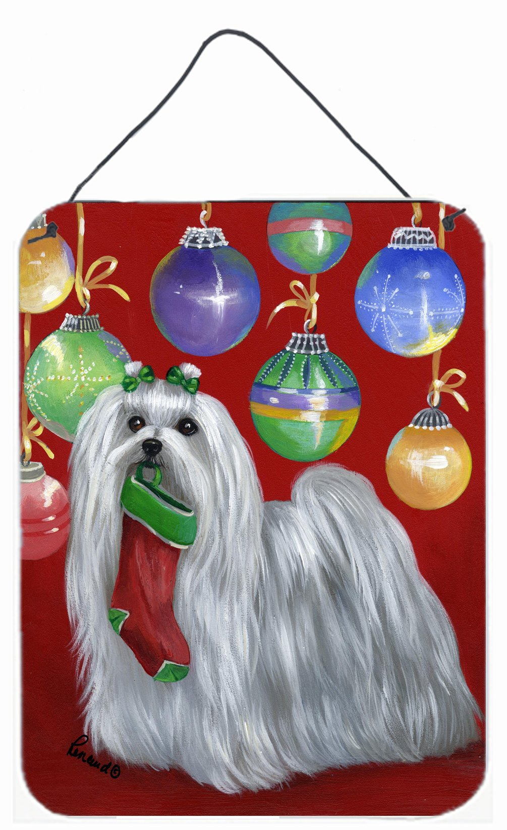 Buy this Maltese Christmas Stocking Stuffer Wall or Door Hanging Prints PPP3114DS1216