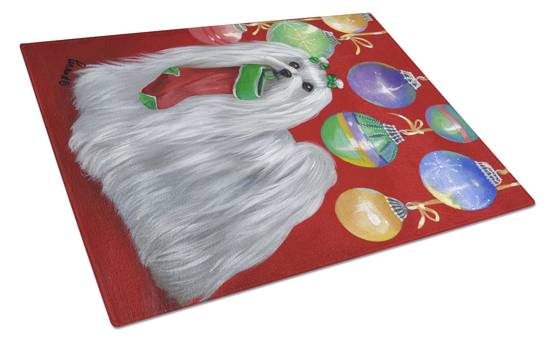Maltese Christmas Stocking Stuffer Glass Cutting Board Large PPP3114LCB by Caroline's Treasures