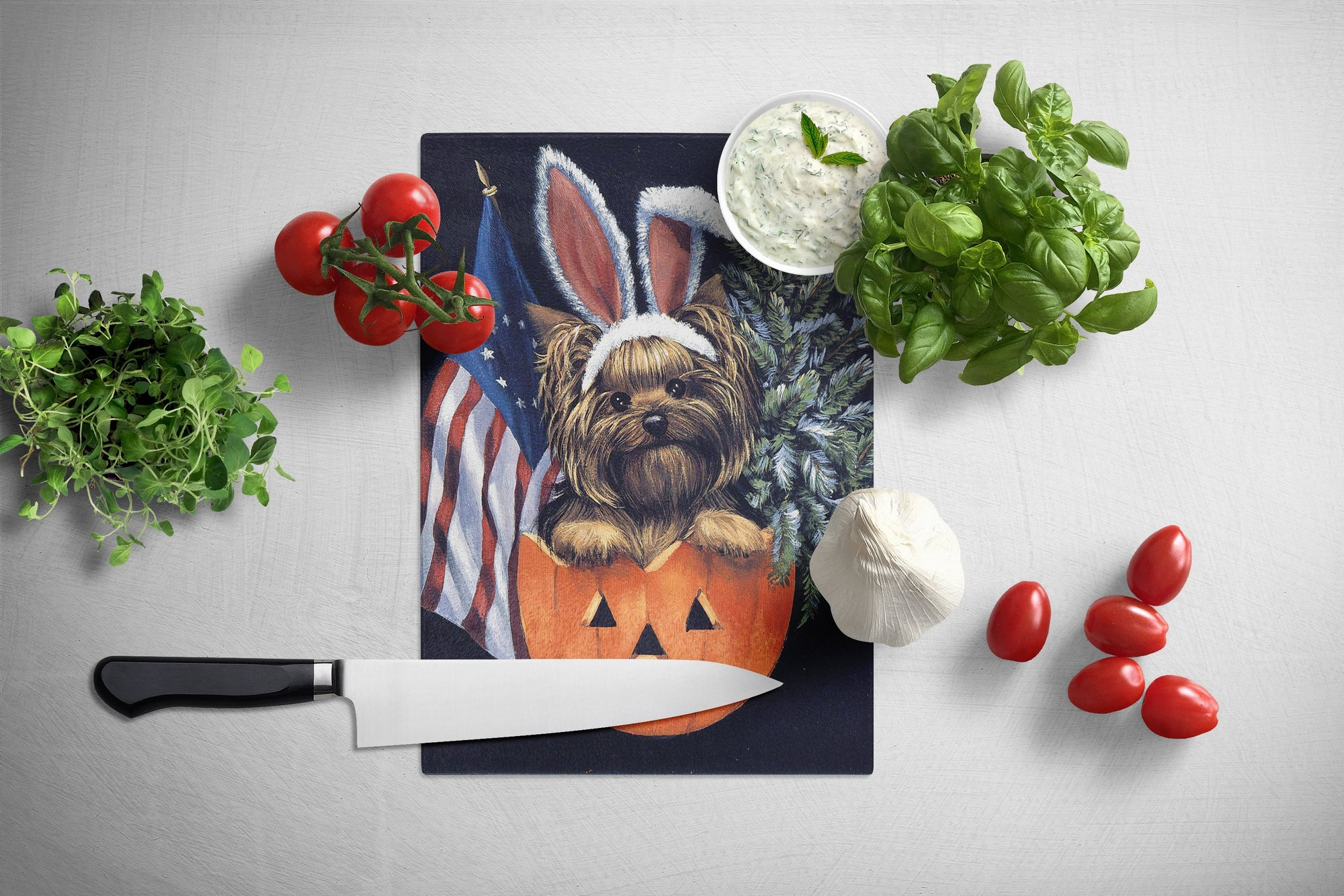 Yorkie for All Seasons Glass Cutting Board Large PPP3124LCB by Caroline's Treasures