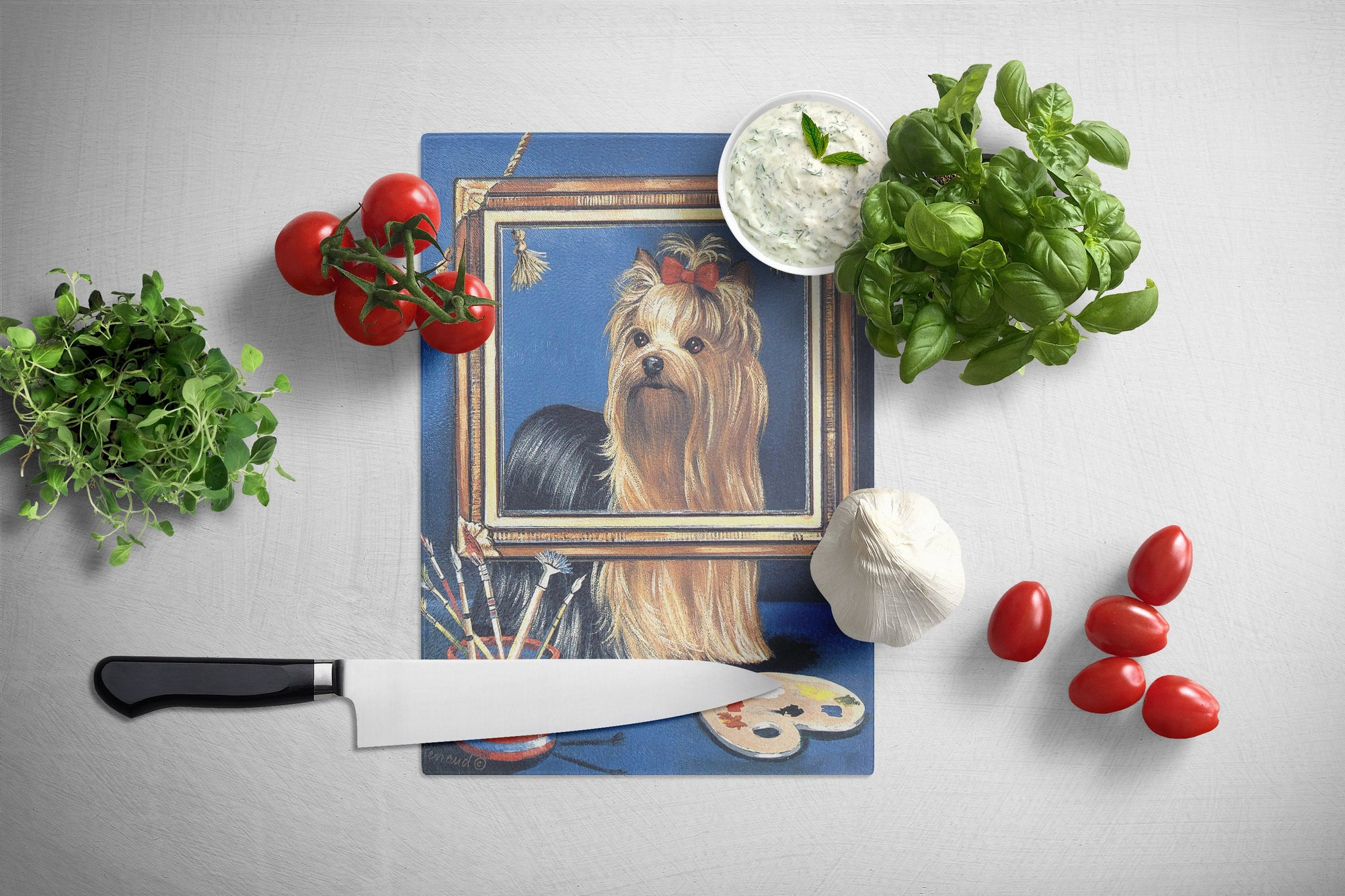 Yorkie Pretty as a Picture Glass Cutting Board Large PPP3126LCB by Caroline's Treasures
