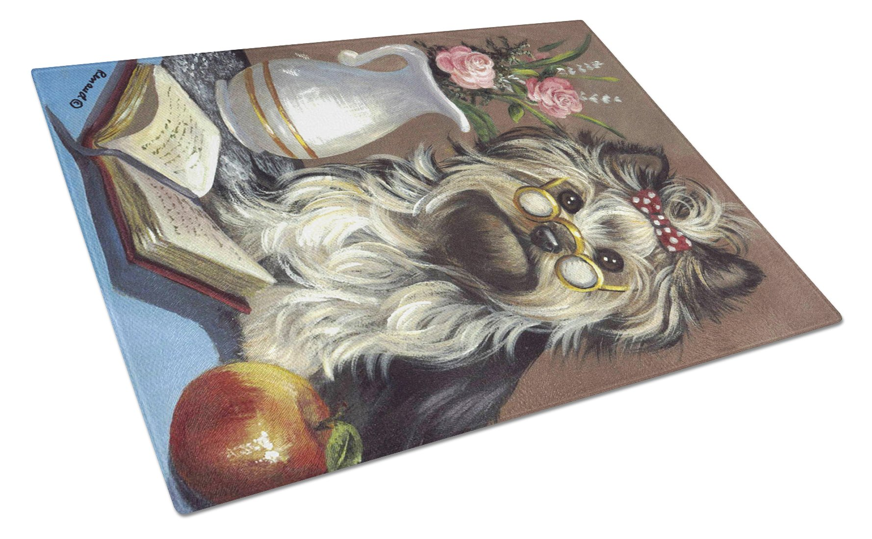 Yorkie Teacher's Pet Glass Cutting Board Large PPP3128LCB by Caroline's Treasures