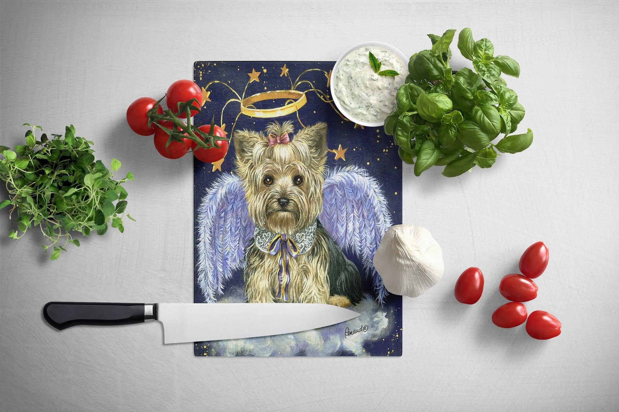 Yorkie Christmas Family Tree Glass Cutting Board Large PPP3131LCB by Caroline's Treasures