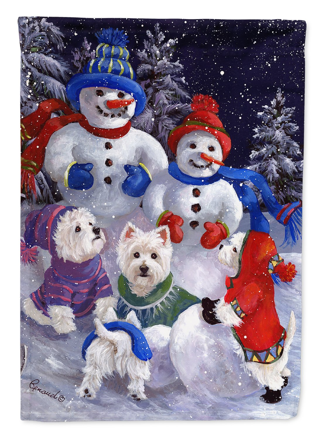 Buy this Westie Snowpeople Flag Garden Size PPP3135GF