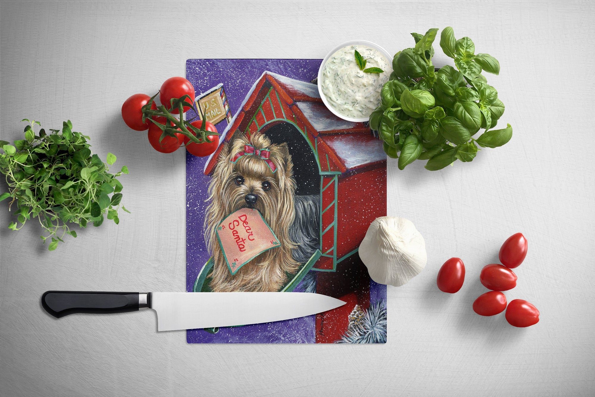 Yorkie Christmas Letter to Santa Glass Cutting Board Large PPP3140LCB by Caroline's Treasures