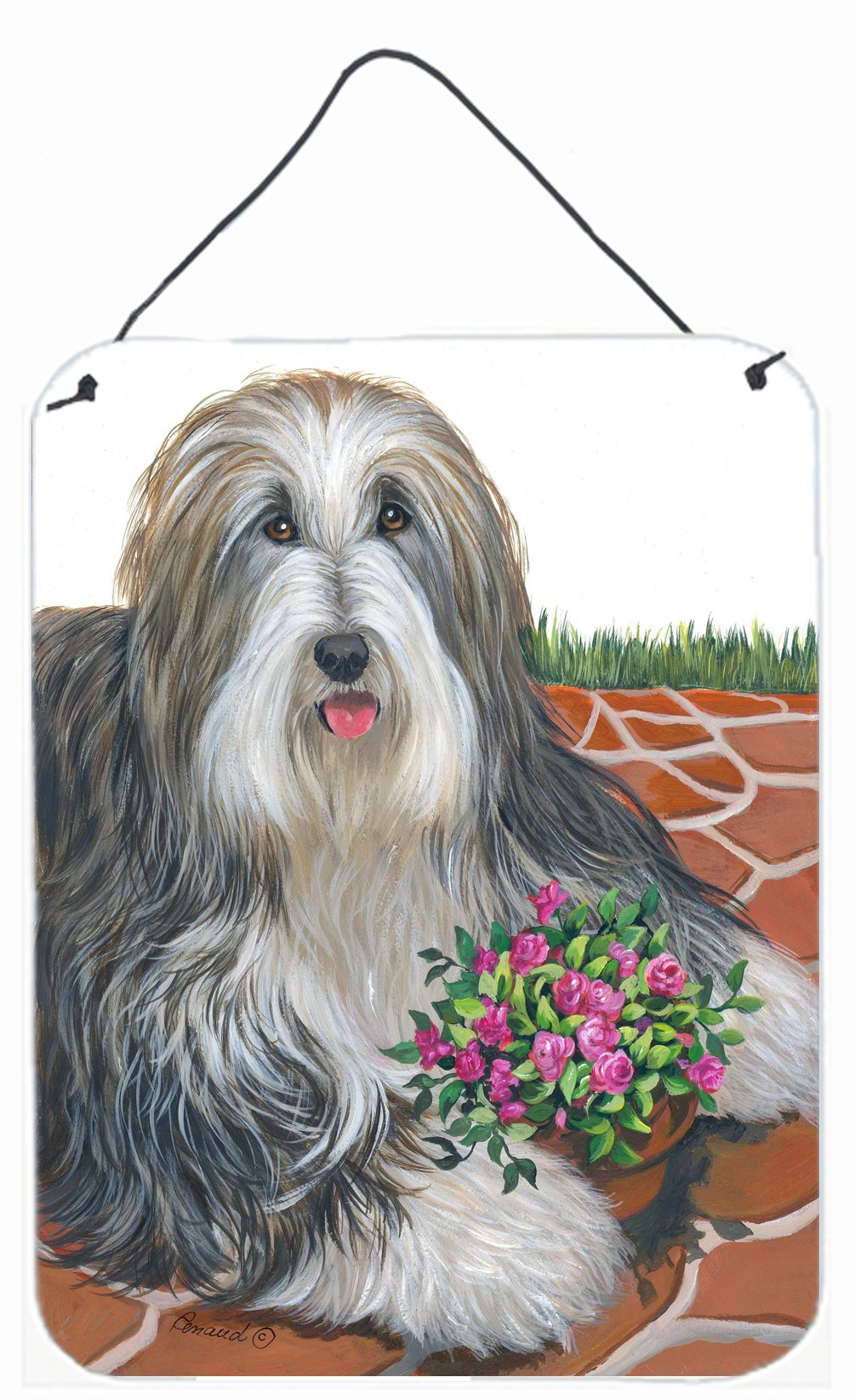 Buy this Bearded Collie Pot of Roses Wall or Door Hanging Prints PPP3141DS1216