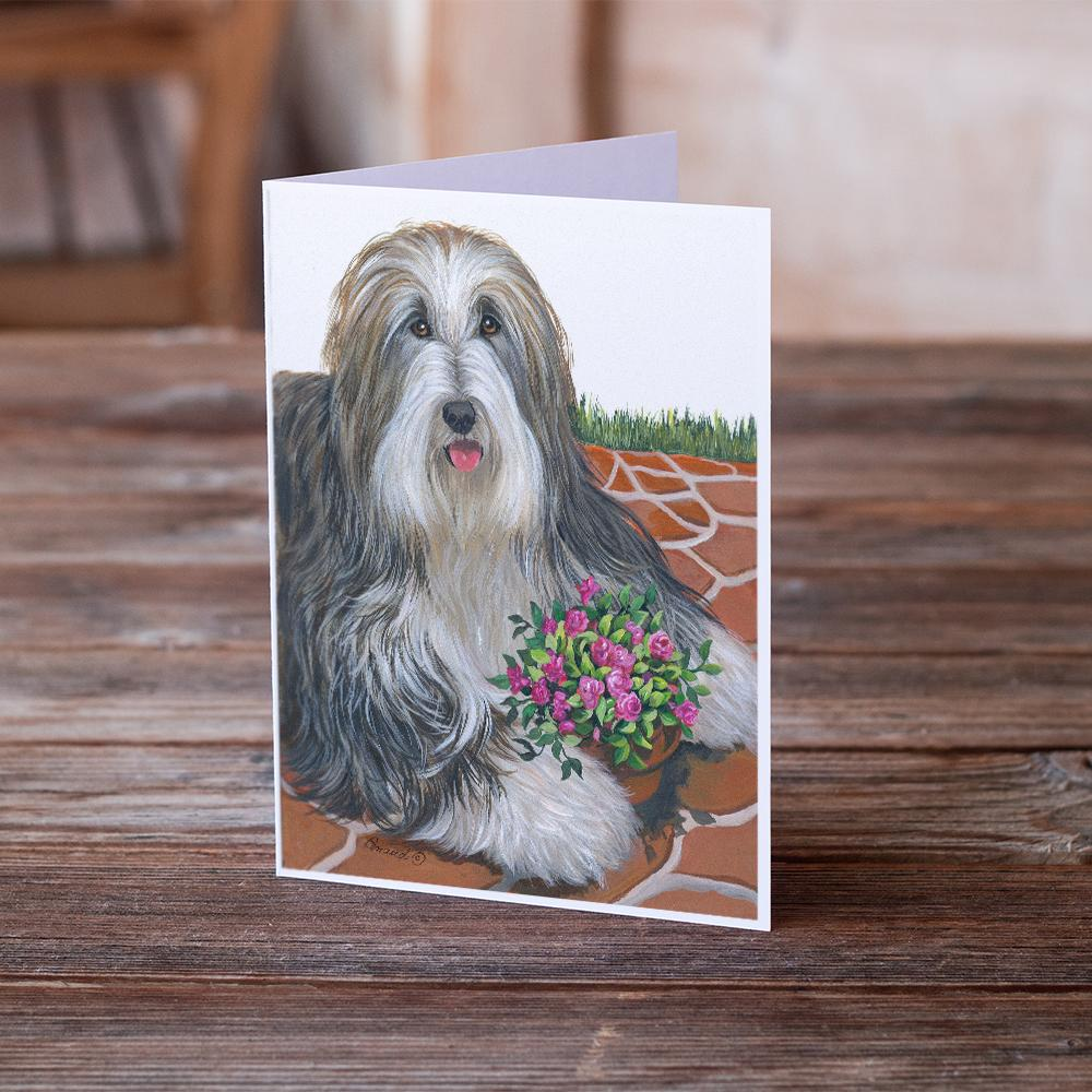 Buy this Bearded Collie Pot of Roses Greeting Cards and Envelopes Pack of 8
