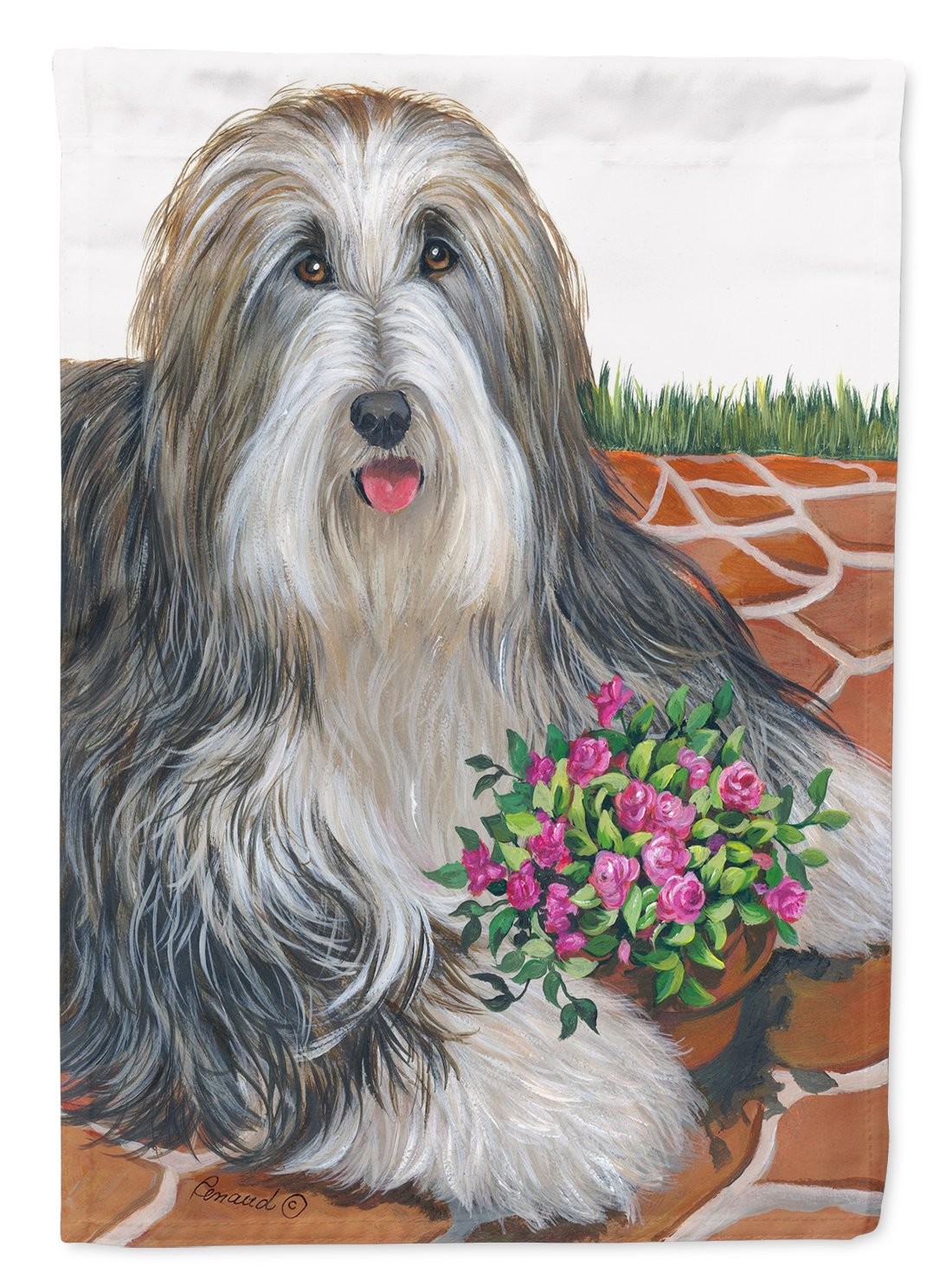 Buy this Bearded Collie Pot of Roses Flag Garden Size PPP3141GF