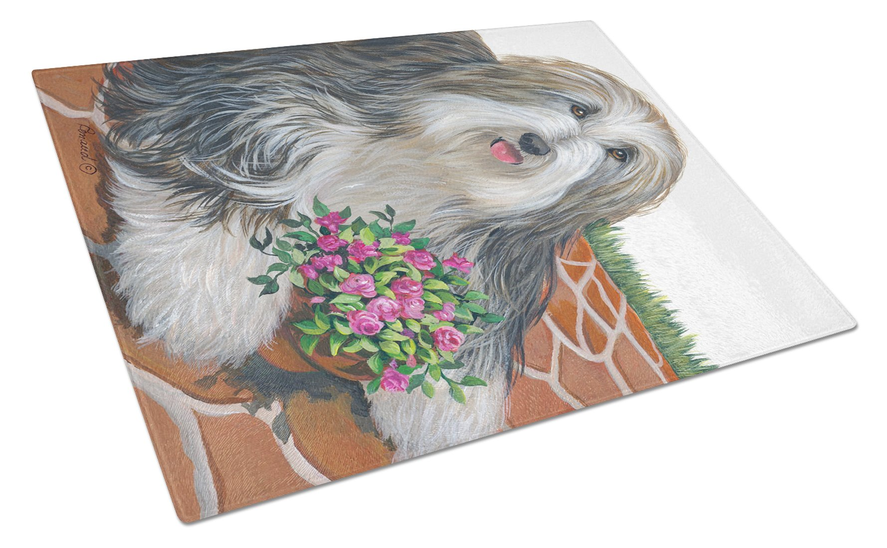 Bearded Collie Pot of Roses Glass Cutting Board Large PPP3141LCB by Caroline's Treasures