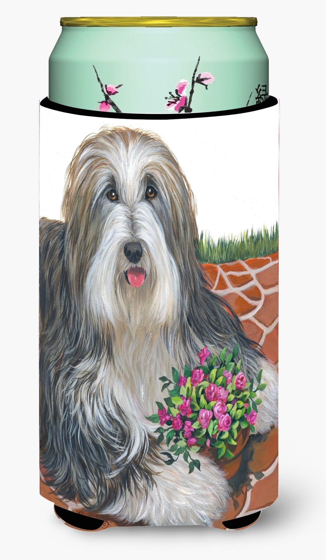 Bearded Collie Pot of Roses Tall Boy Hugger PPP3141TBC by Caroline's Treasures
