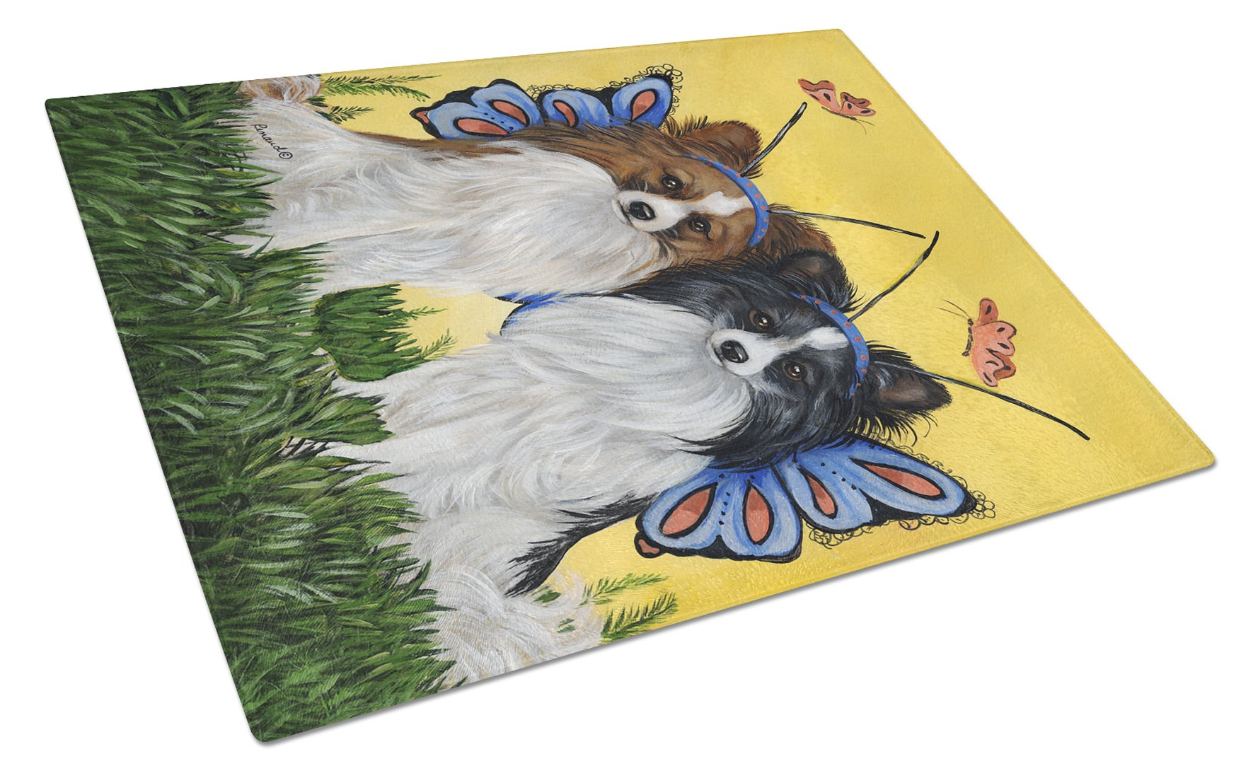 Papillon Butterflies Glass Cutting Board Large PPP3143LCB by Caroline's Treasures
