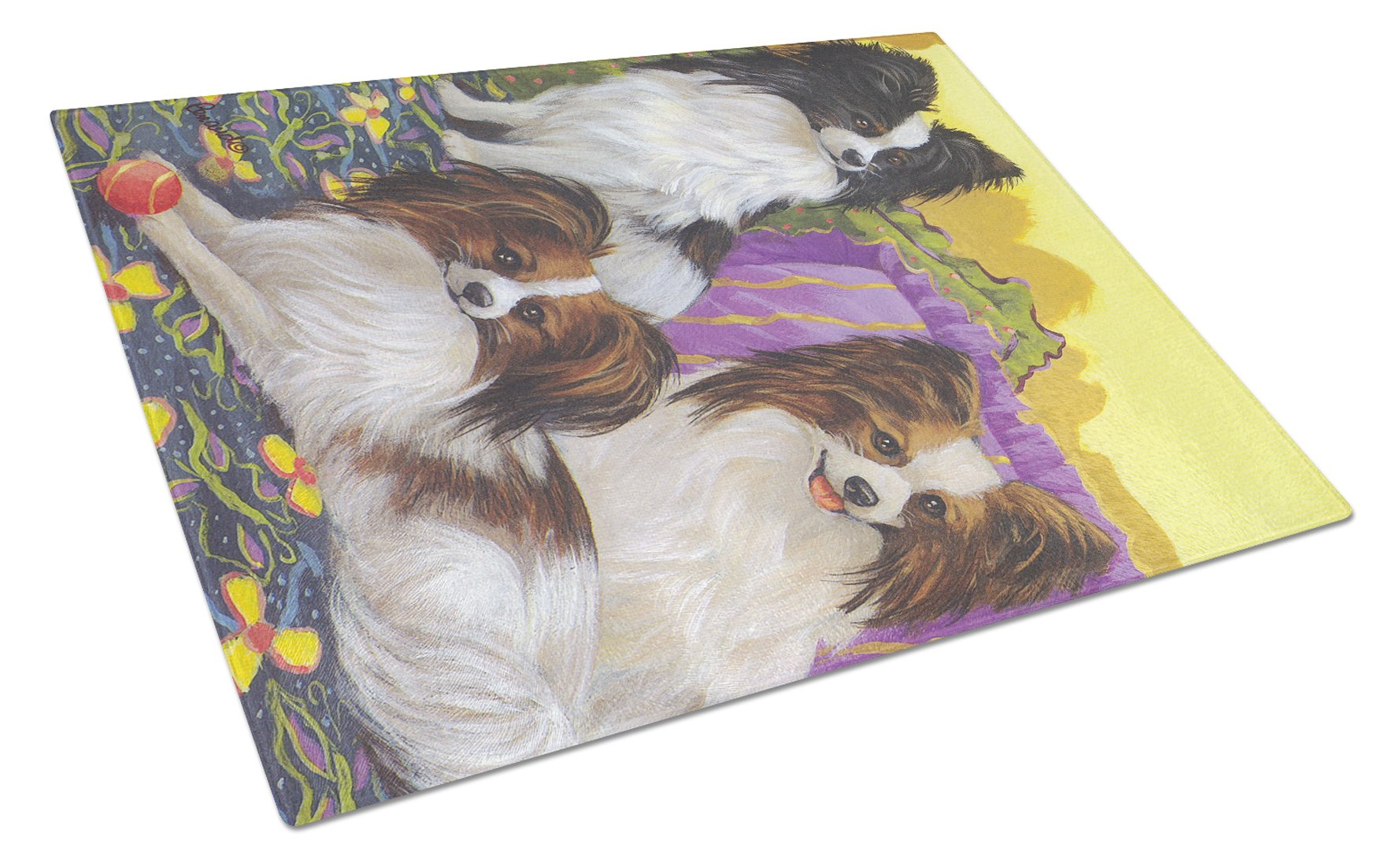 Papillon Party Pals Glass Cutting Board Large PPP3144LCB by Caroline's Treasures