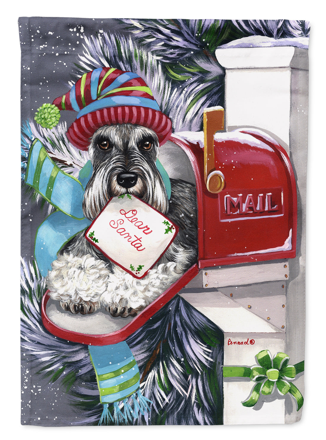 Buy this Schnauzer Christmas Letter to Santa Flag Canvas House Size PPP3162CHF