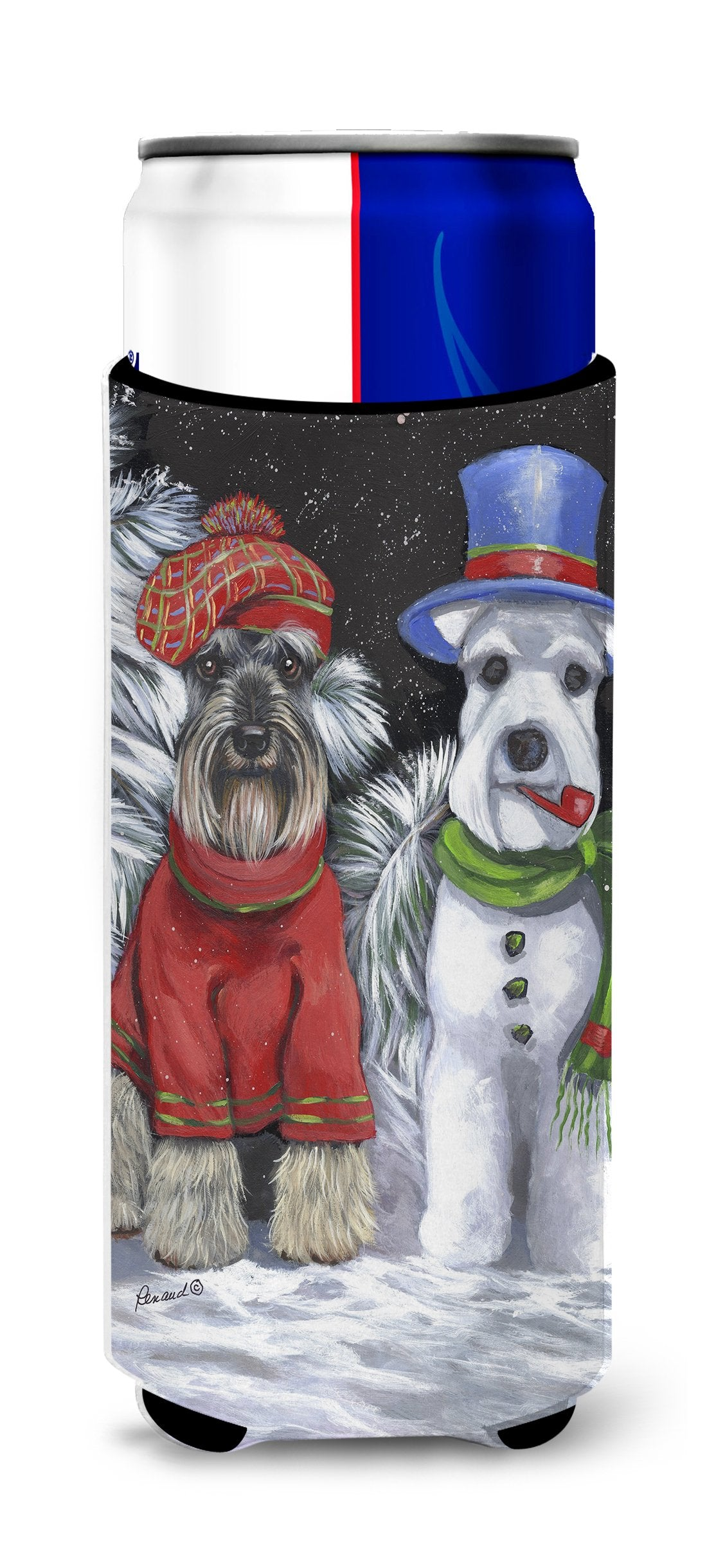 Schnauzer Christmas Snow Dog Ultra Hugger for slim cans PPP3165MUK by Caroline's Treasures