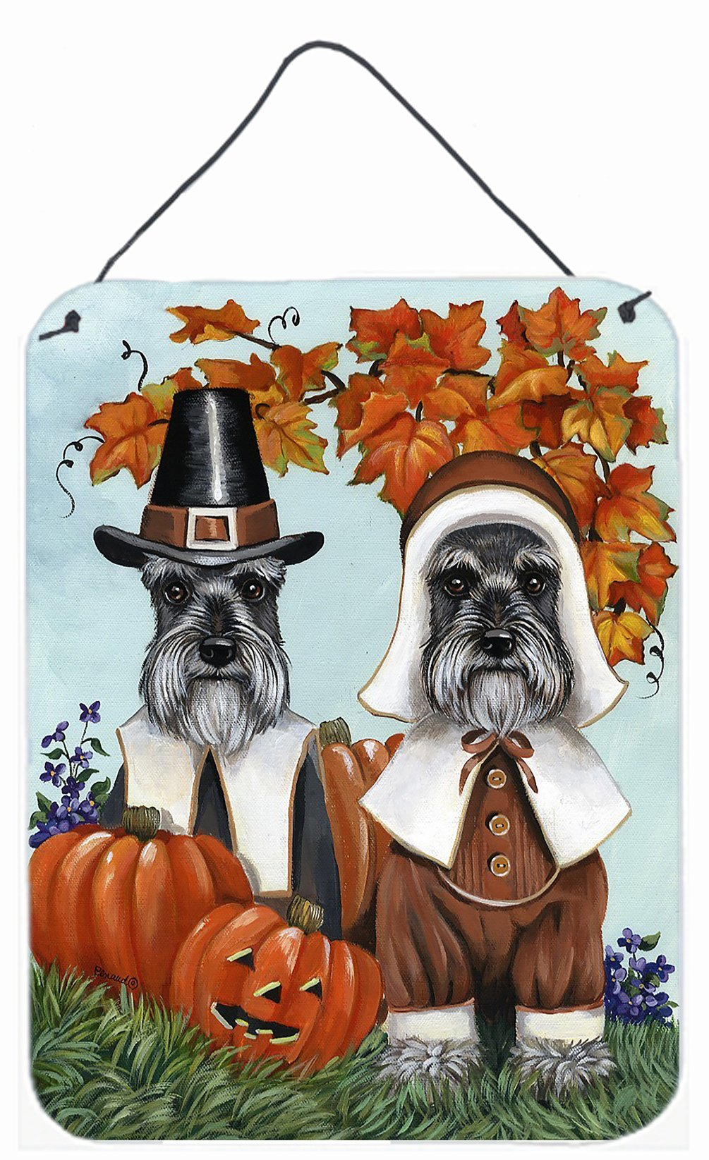 Buy this Schnauzer Thanksgiving Pilgrims Wall or Door Hanging Prints PPP3167DS1216